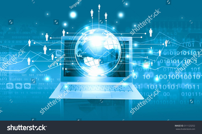 Internet concept laptop digital planet stock photo for Internet plante