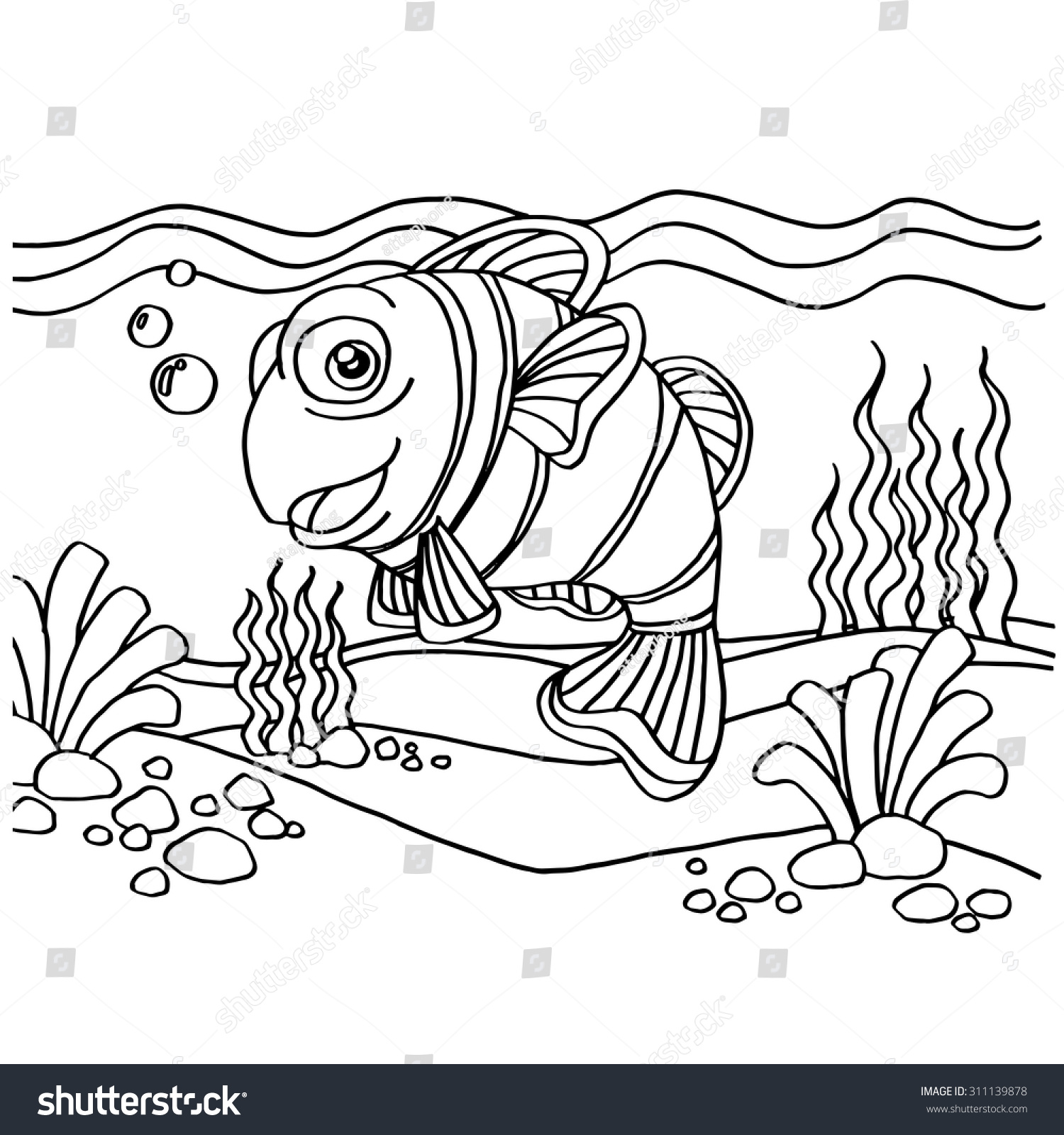 Clownfish Coloring Pages Vector Stock Vector (Royalty Free ...
