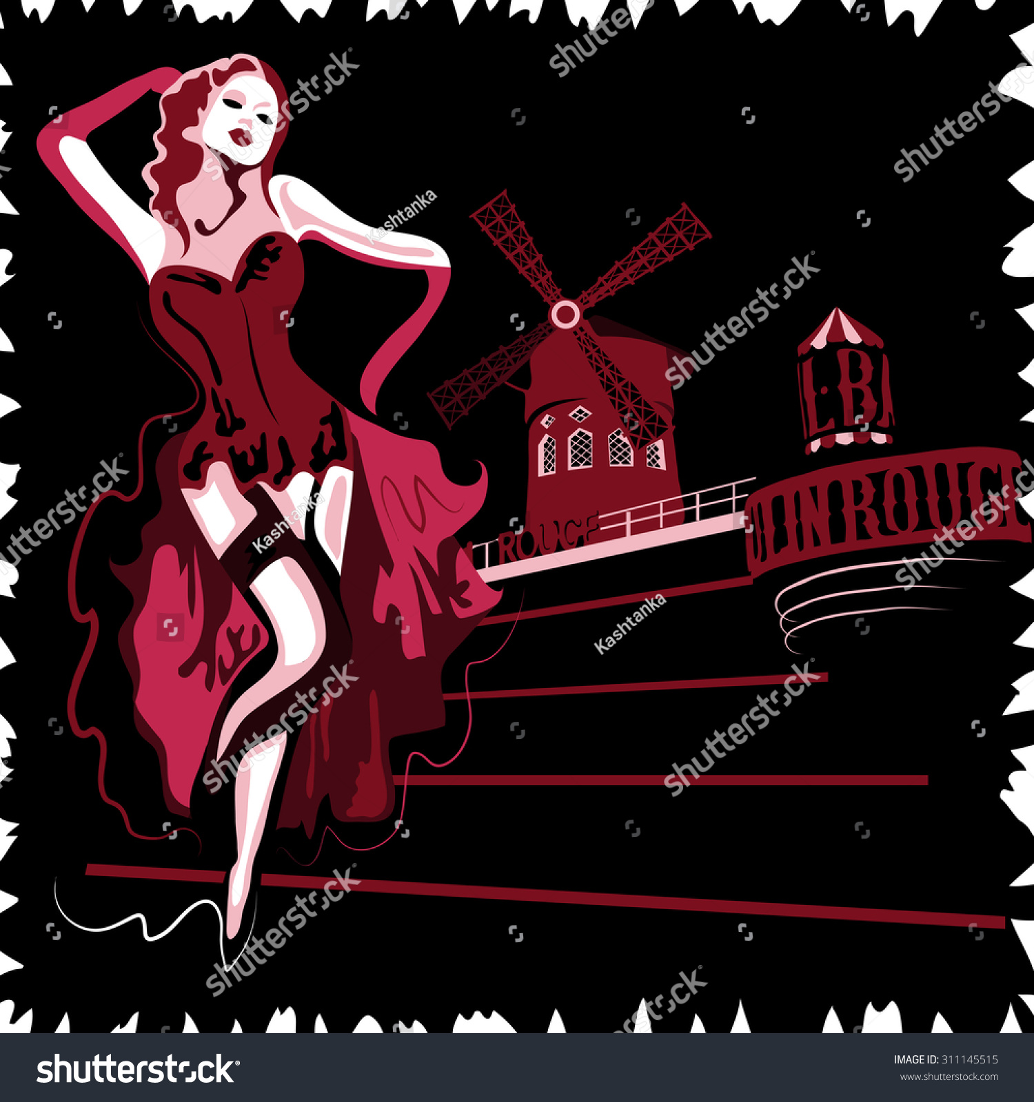 French Abstract Woman Cabaret Moulin Rouge Stock Illustration ...
