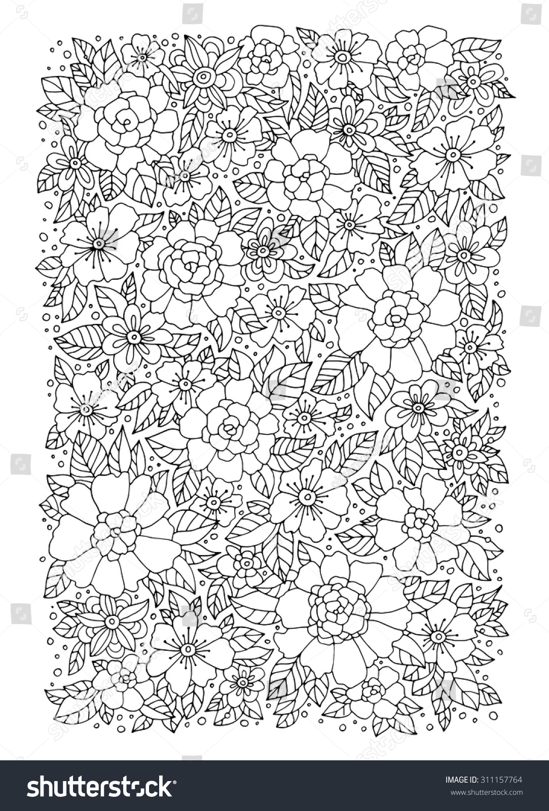 forest flowers vector coloring book pages stock vector 311157764
