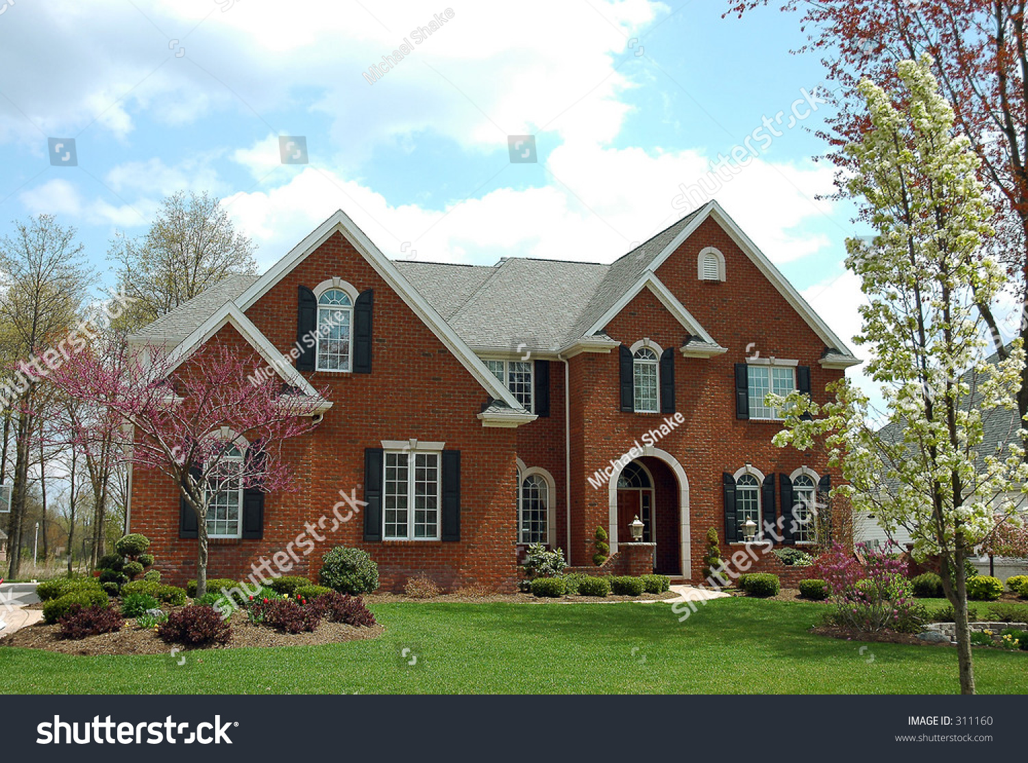 A red brick colonial style house stock photo 311160 for Colonial brick