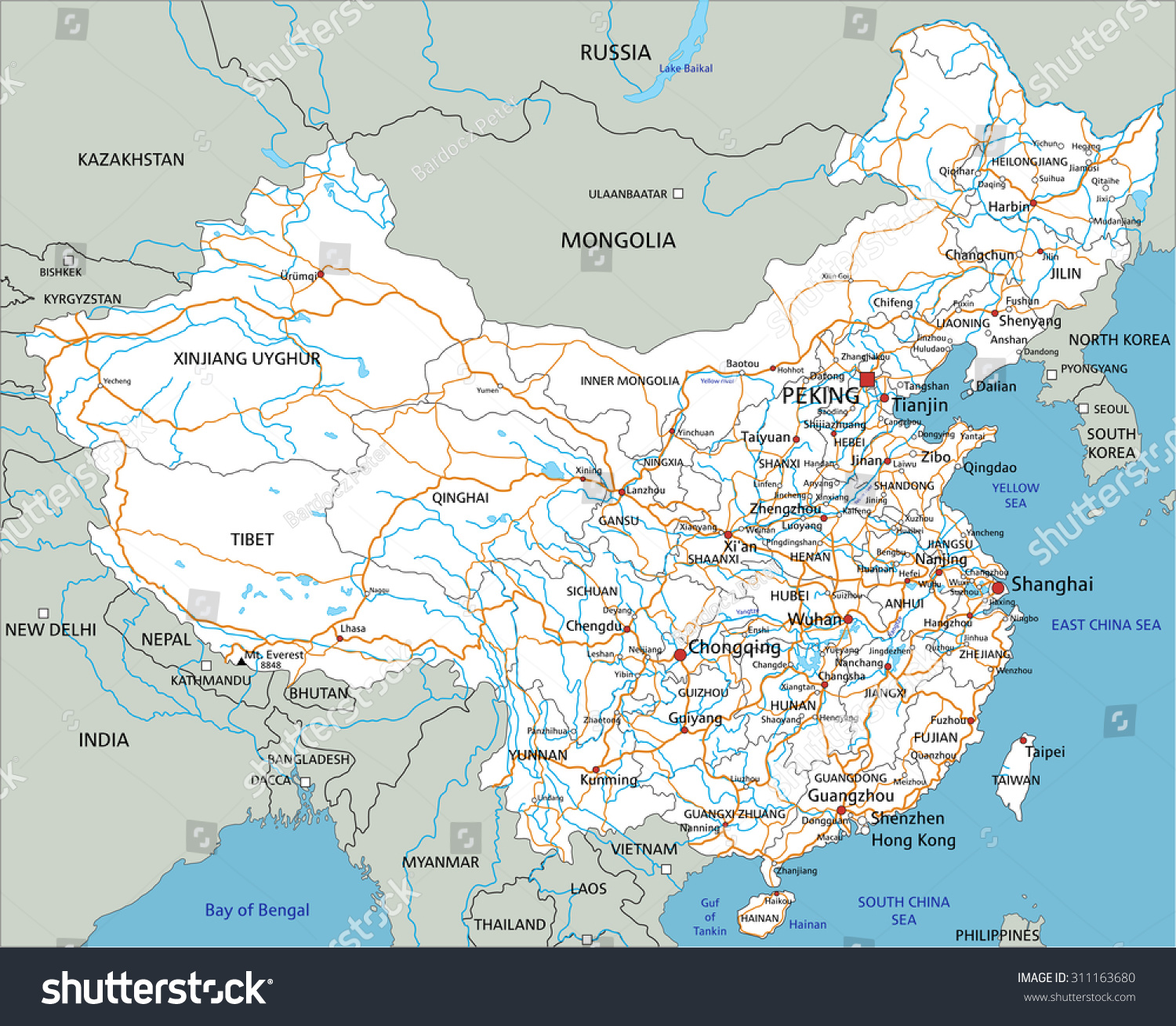High Detailed China Road Map Labeling Stock Vector 2018 311163680