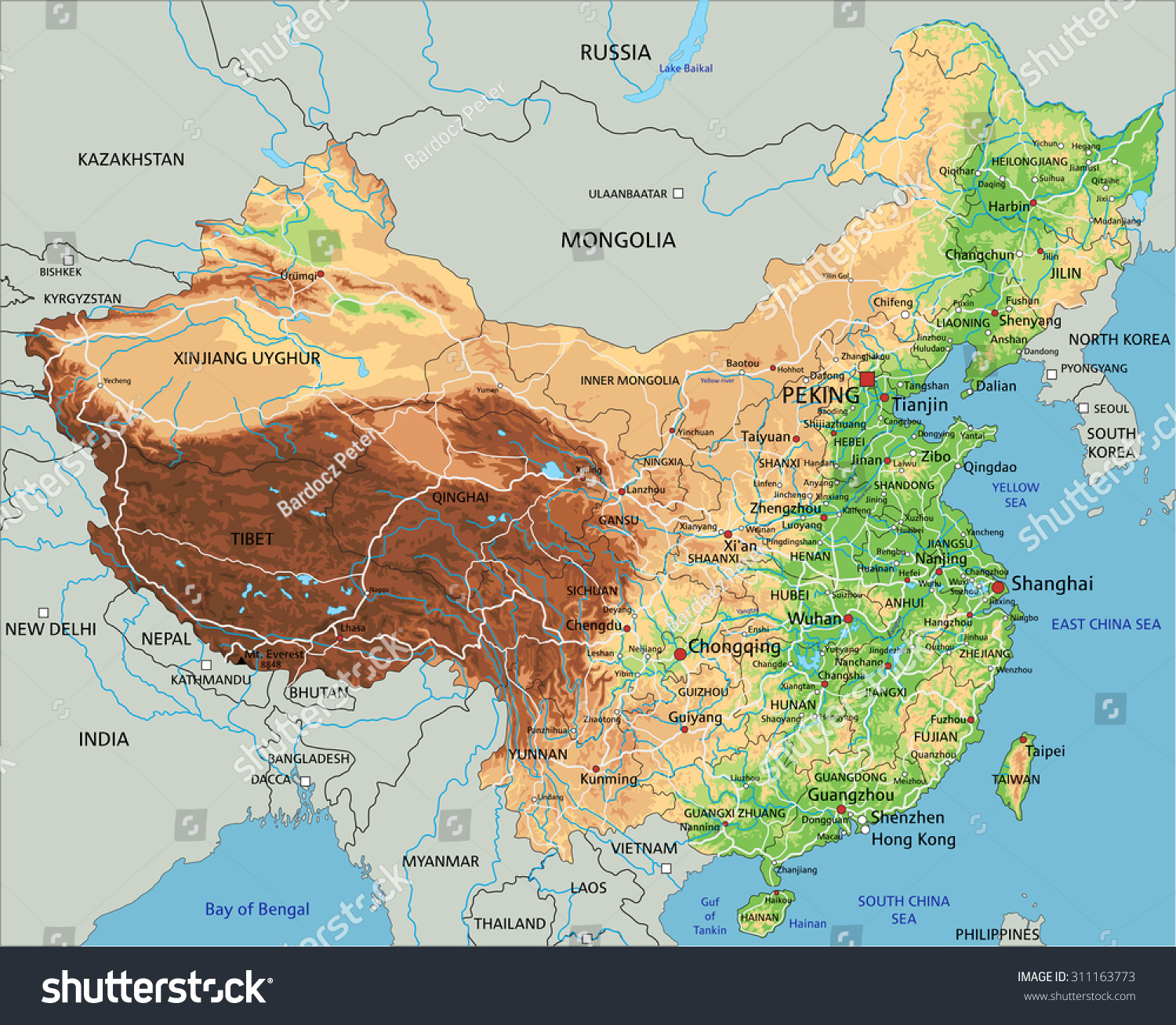 High detailed china physical map labeling stock vector 2018 high detailed china physical map with labeling gumiabroncs Image collections