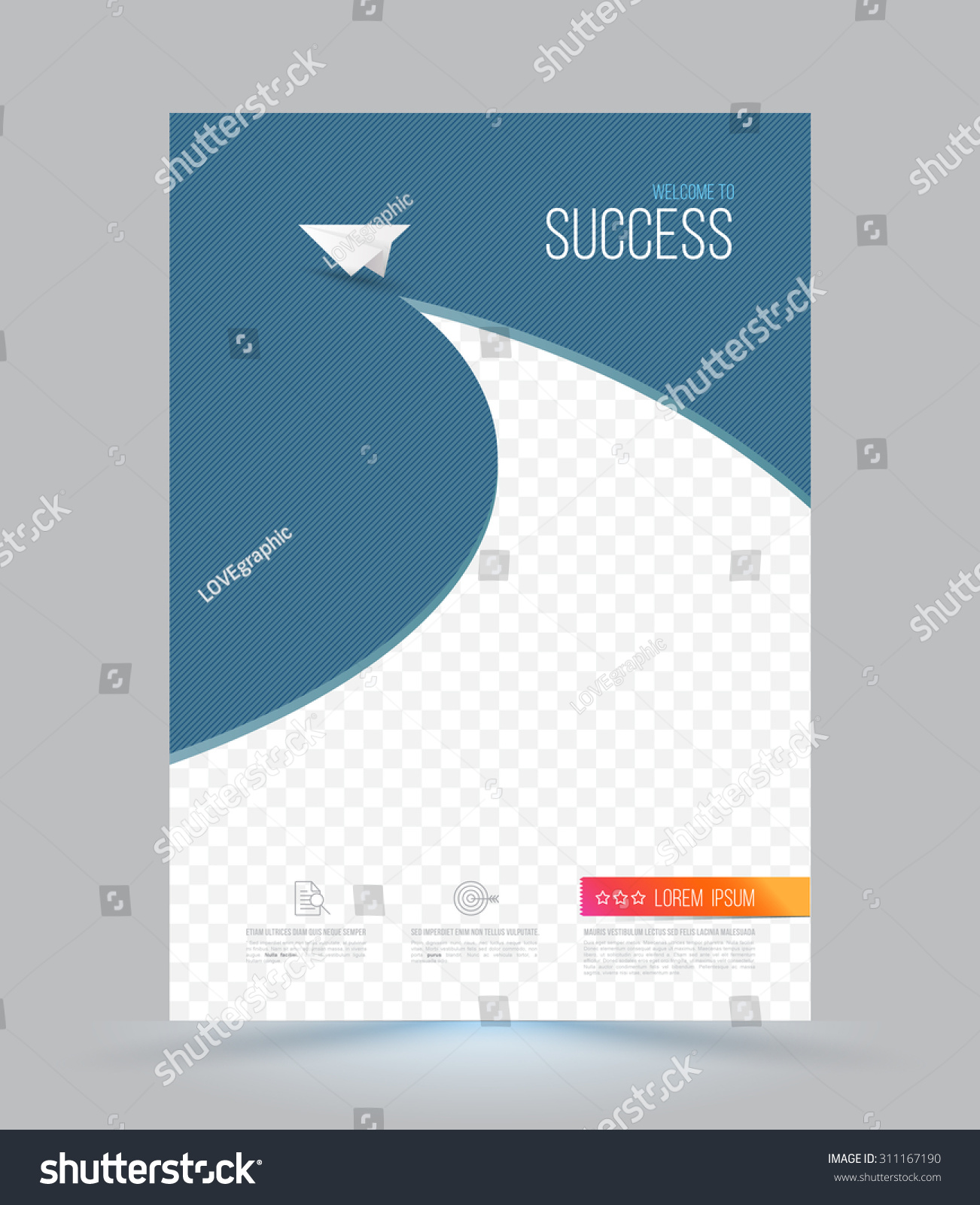 Paper Book Cover Template : Cover page layout template paper airplane stock vector