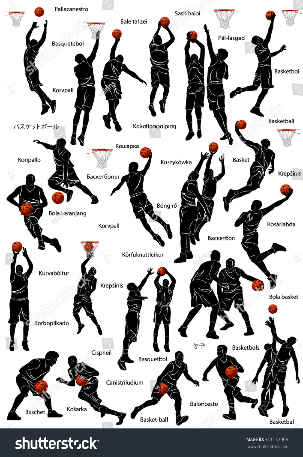 Silhouette Of Basketball Players In Action With Name The Game Written Different Languages