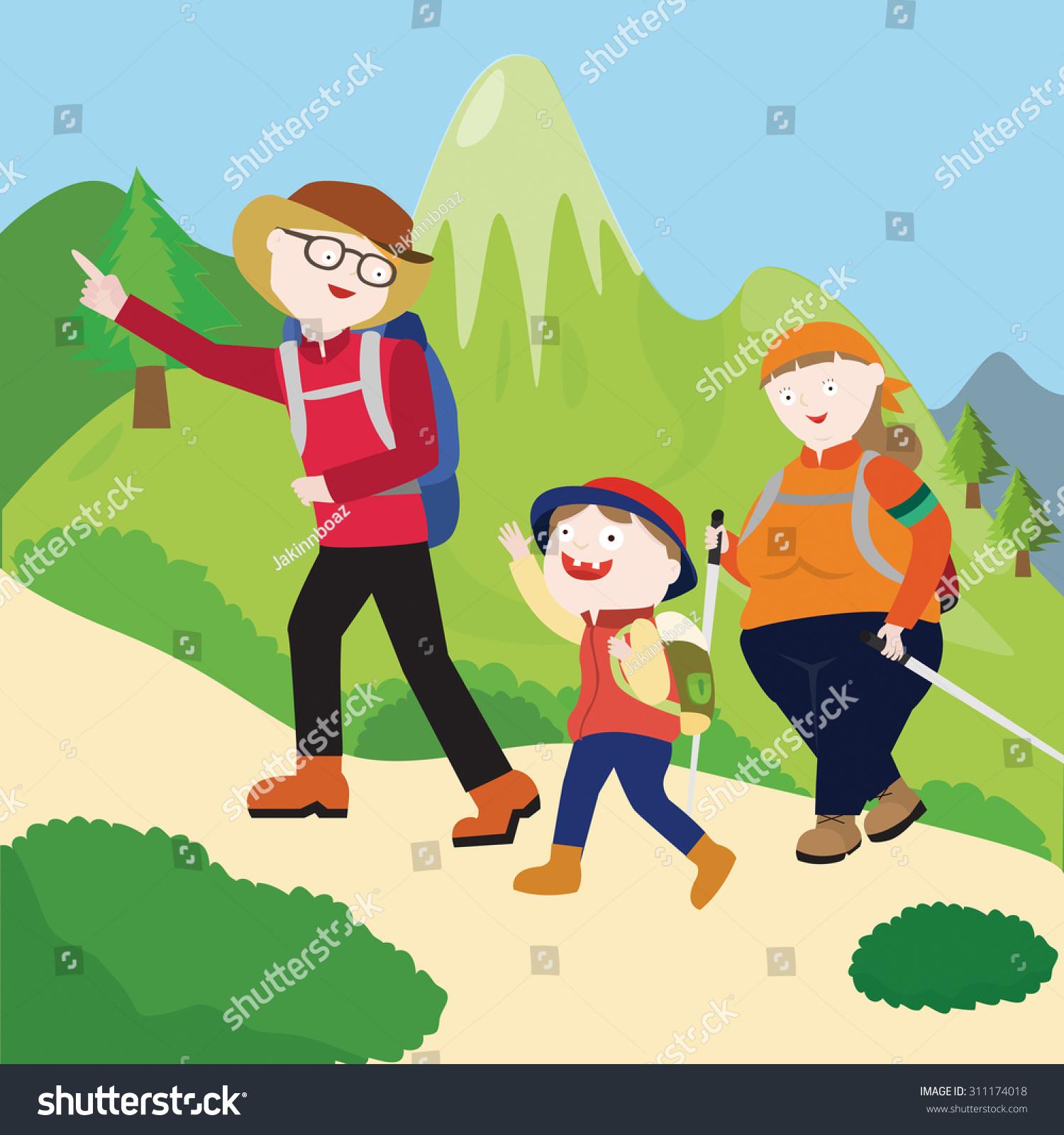family hiking clipart - photo #25