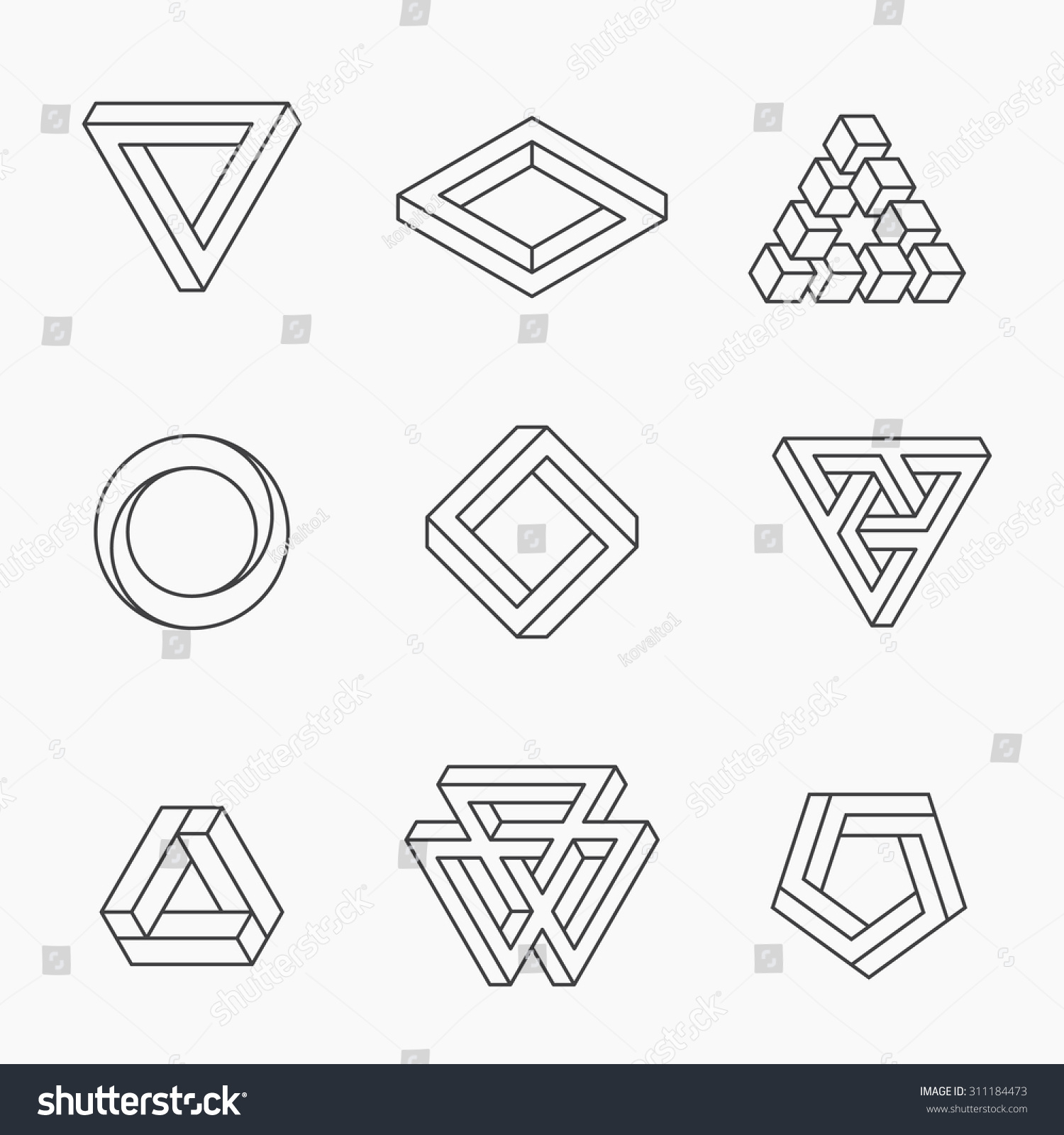 Line And Shape Design : Set impossible shapes vector line design stock