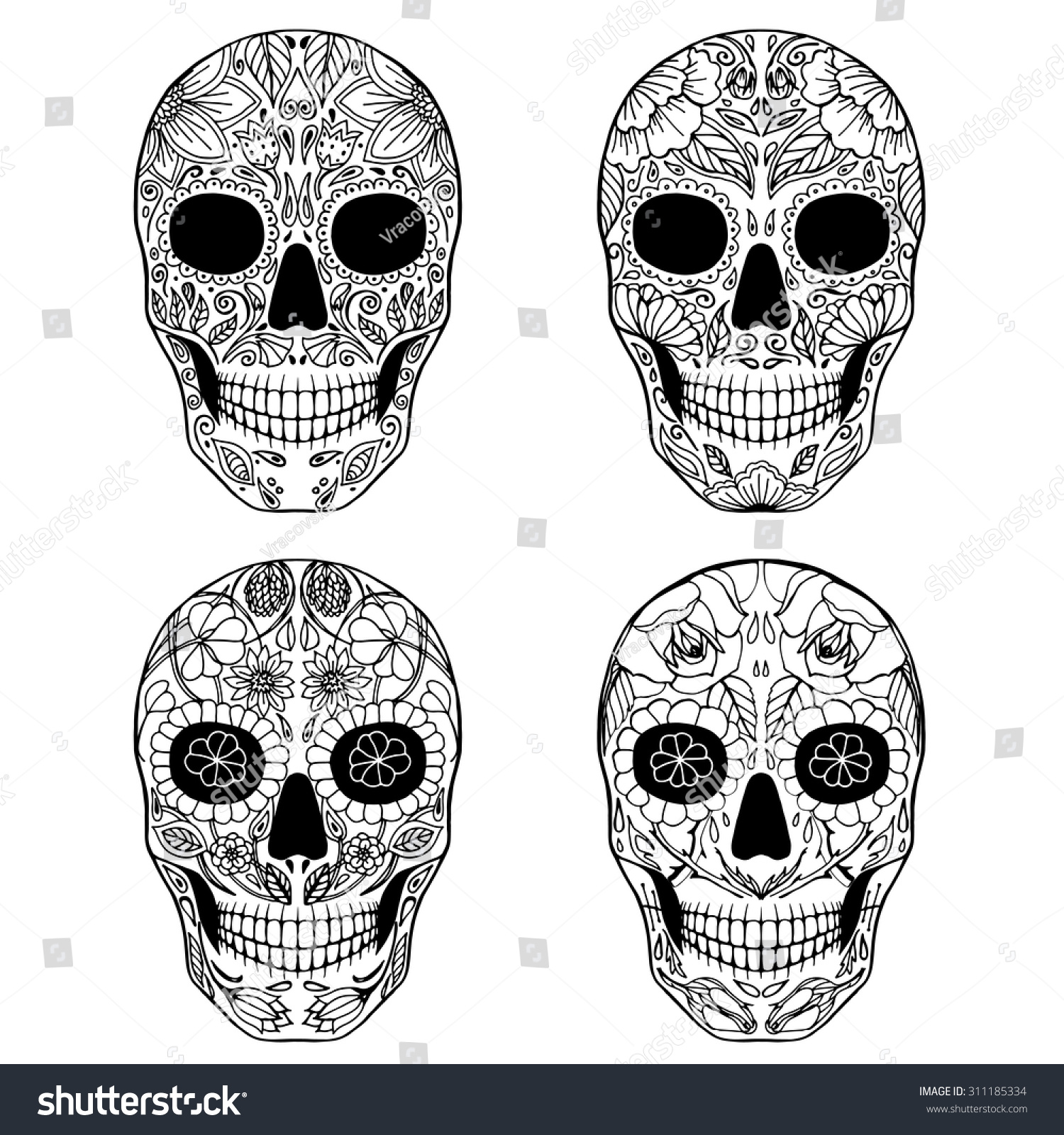 Day of the Dead Doodle Sugar Skulls set Vector Collection