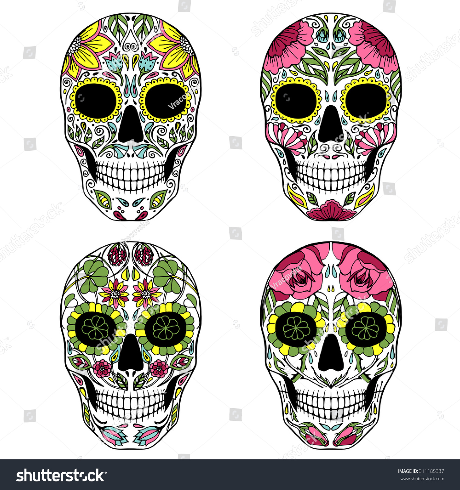 Vector Illustration Of Sugar Skull Mexican Symbol For Day Of The