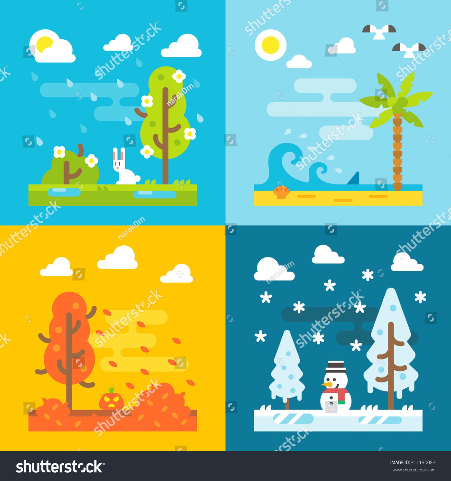 4 seasons park flat design set stock vector 311190083 for 4 seasons decoration