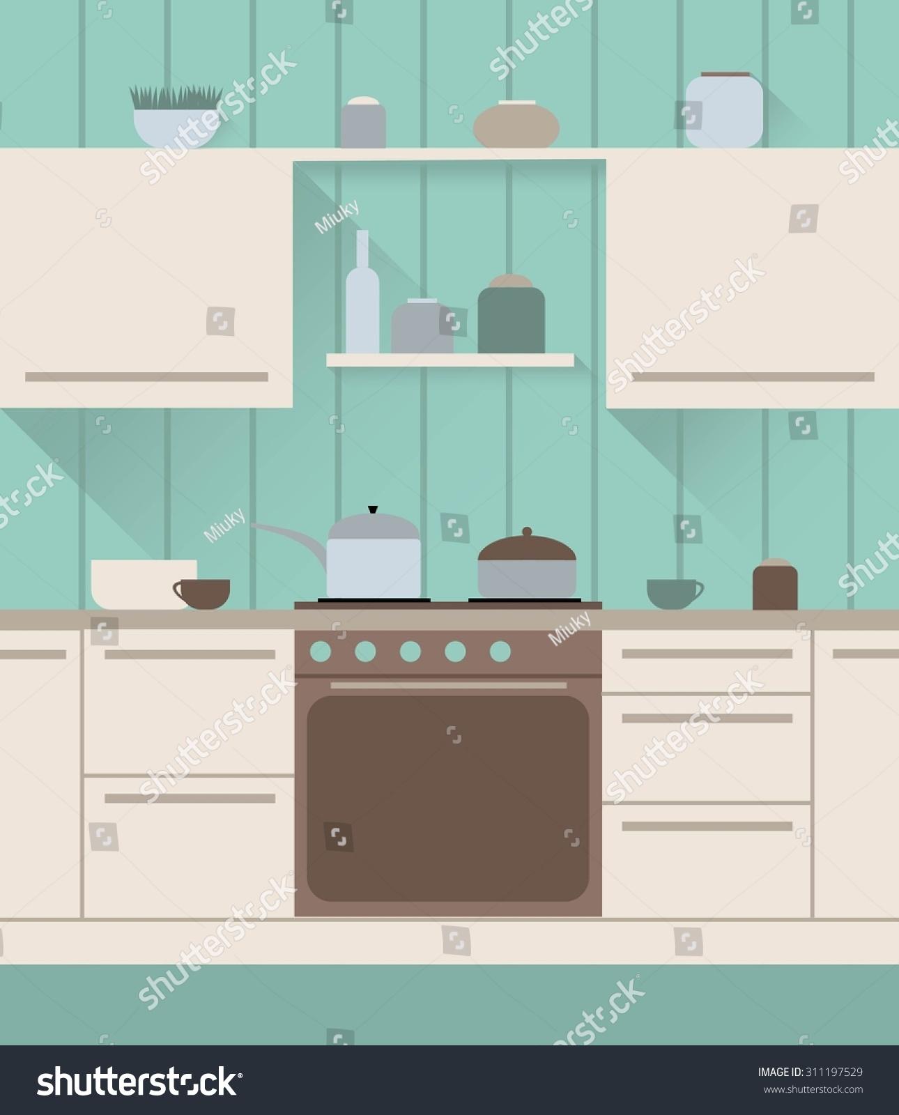 Vintage Kitchen Interior Stock Vector Shutterstock