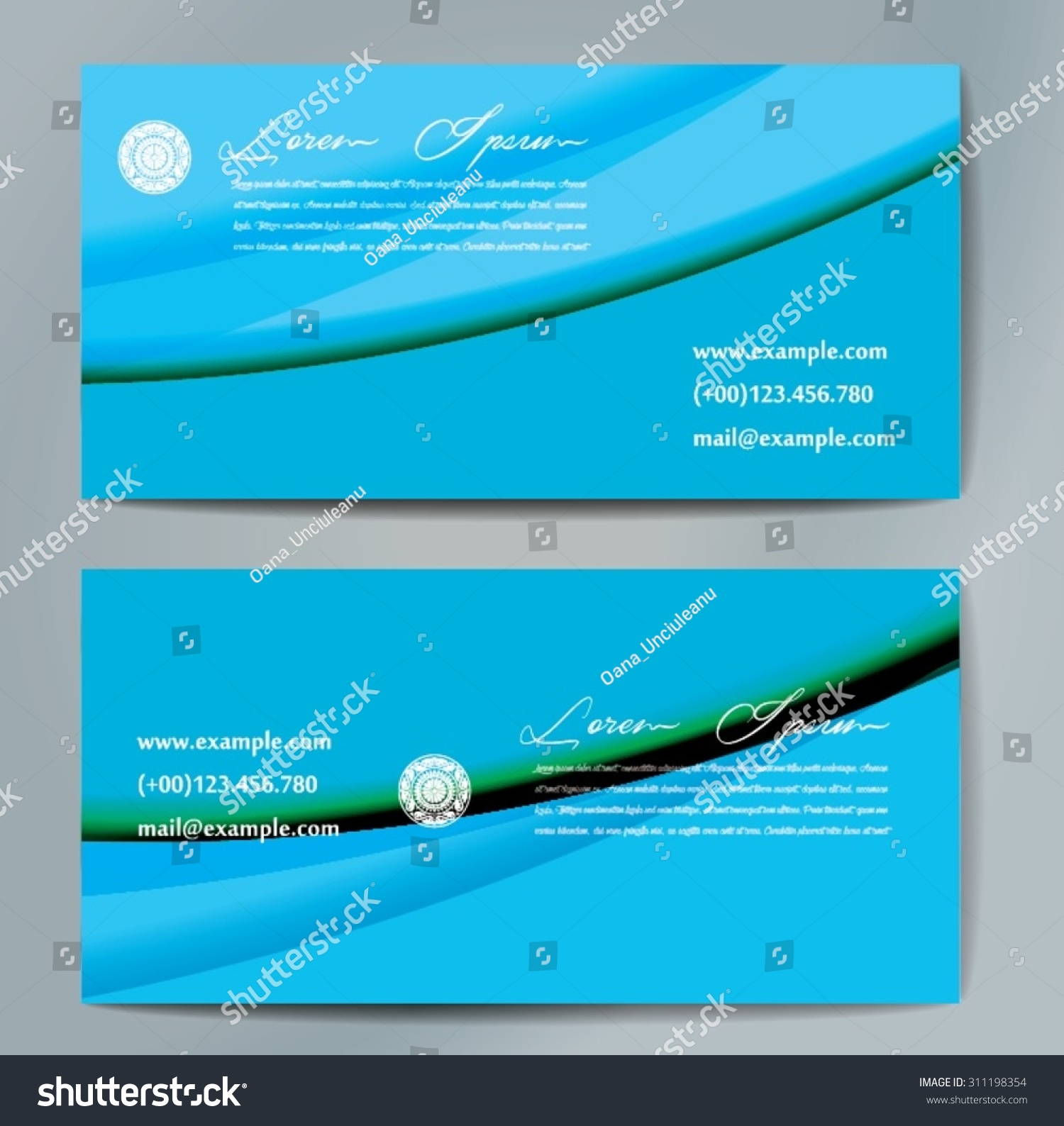 Stylish Business Cards Colorful Wavy Stripes Stock Vector 311198354 ...
