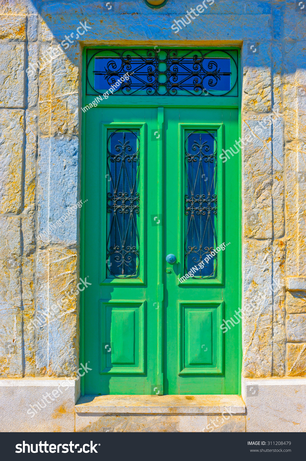 Old beautiful traditional house in chora the capital of amorgos island - Beautiful Wooden Old Door On Symi Island In Greece
