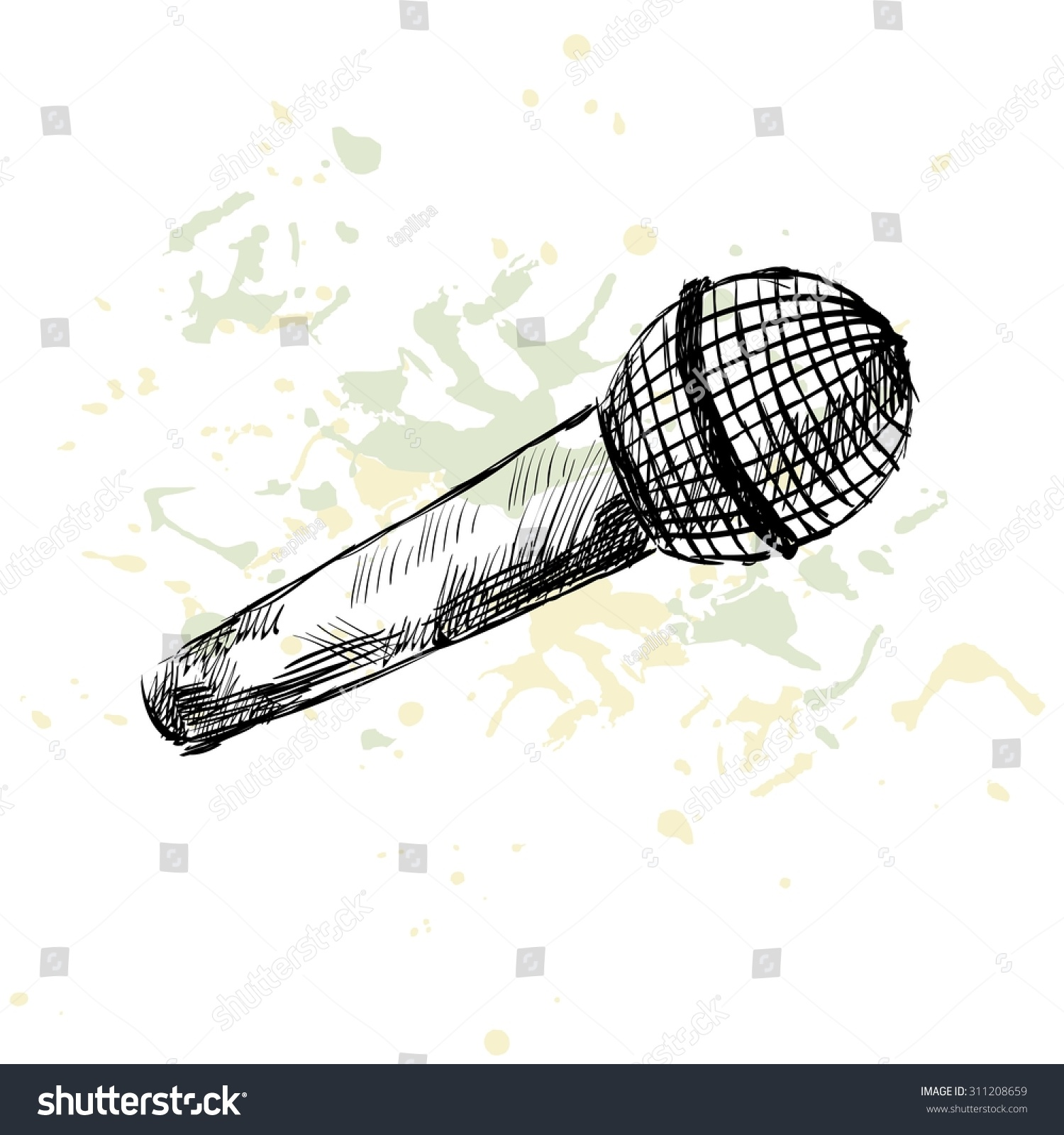 Line Art Microphone : Sketch microphone on white background blots stock vector