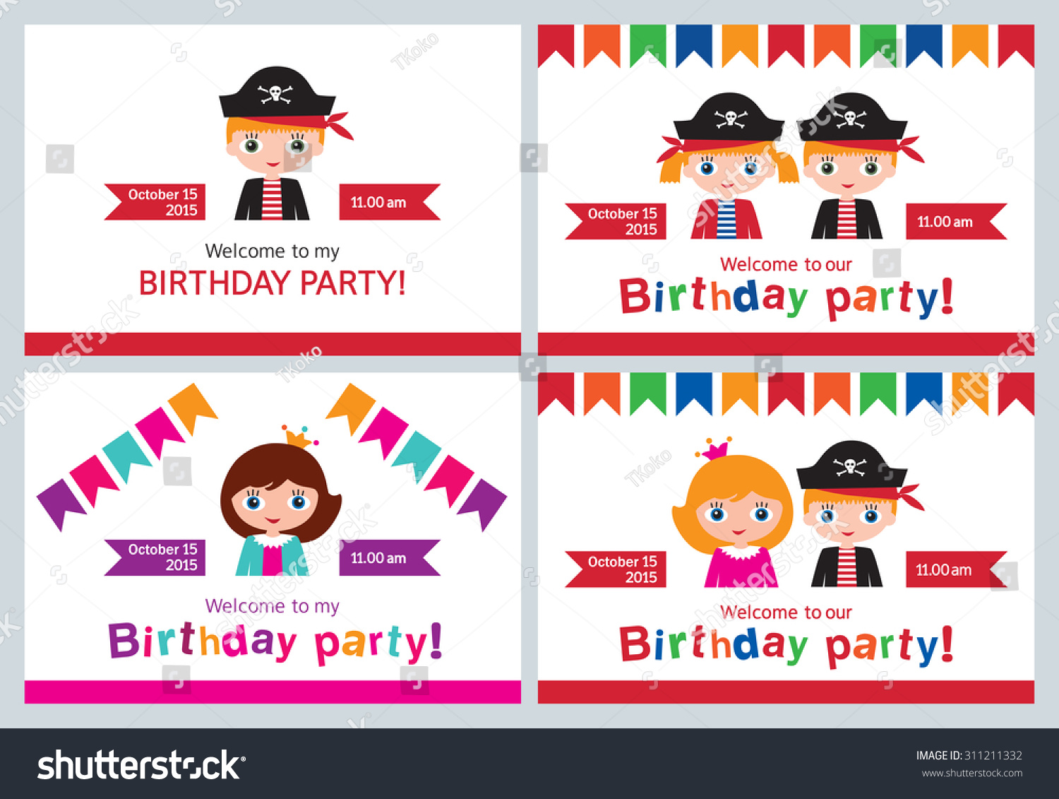 Set Childrens Party Invitations Birthday Pirate Stock Vector ...