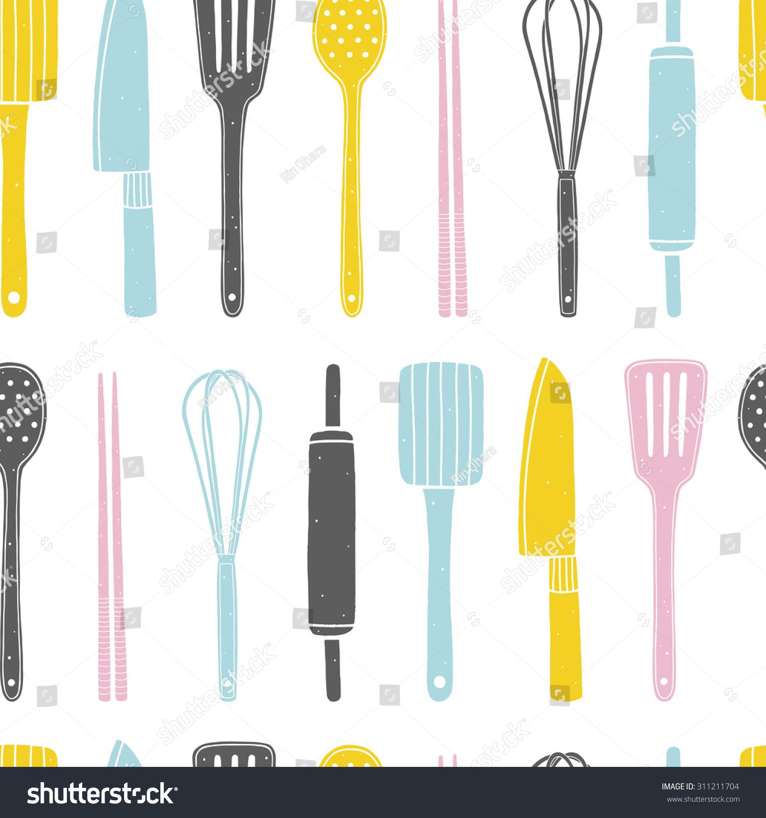Kitchen Utensils Background: Hand Drawn Seamless Pattern Kitchen Utensils Stock Vector