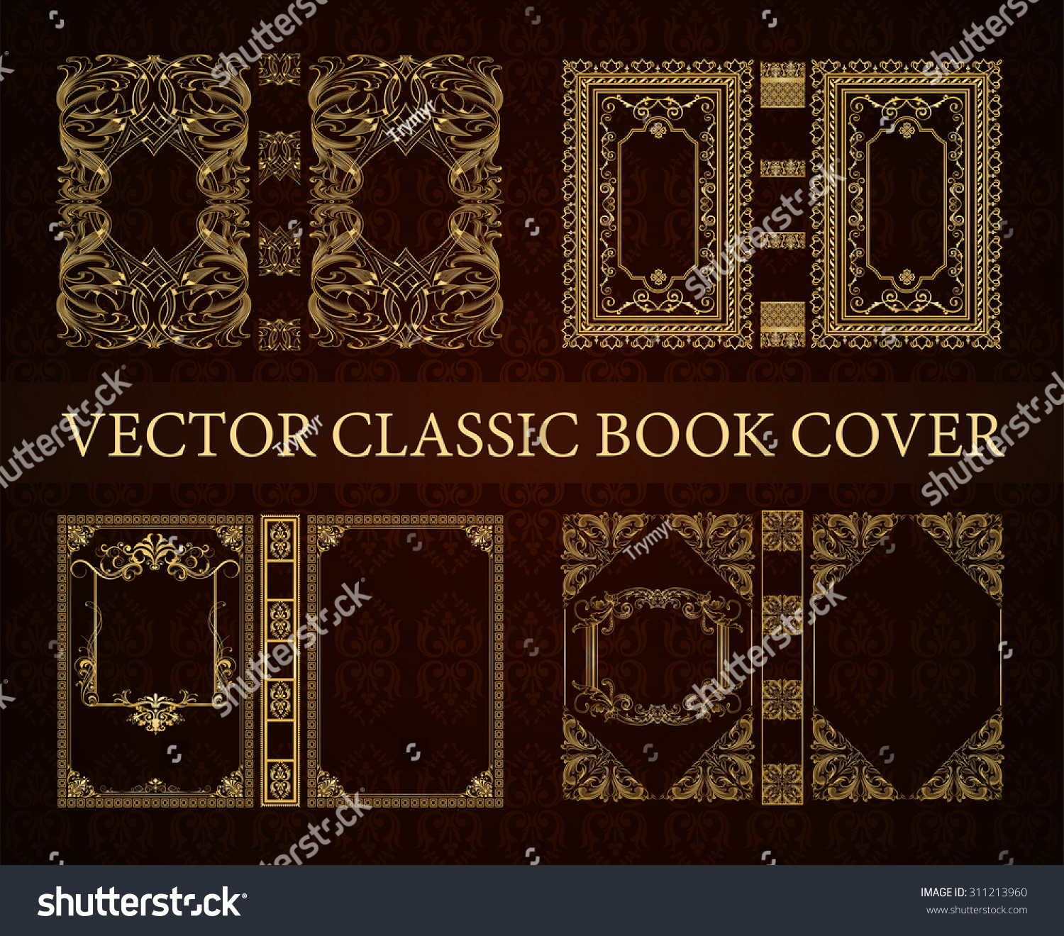 Illustrated Book Cover Vector : Vector set classical book cover decorative vintage frame
