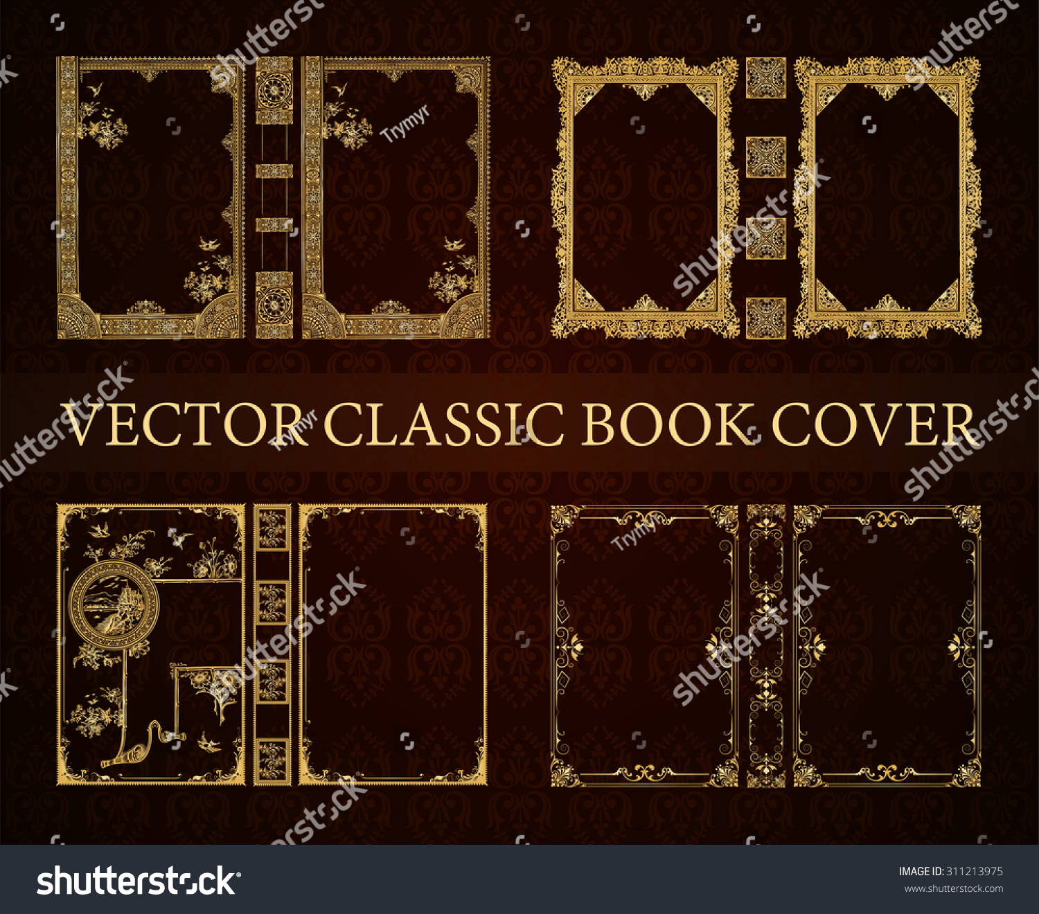 Cool Book Cover Vector : Vector set classical book cover decorative stock
