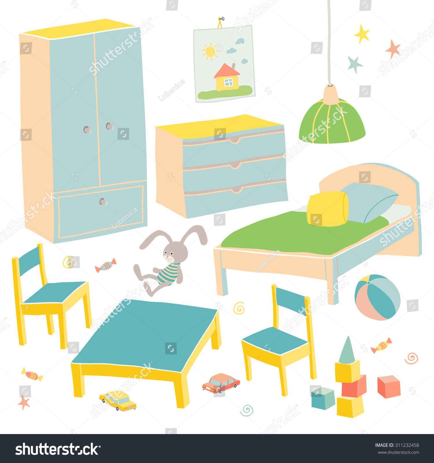 Image of: Set Furniture Children Room Kids Small Stock Vector Royalty Free 311232458