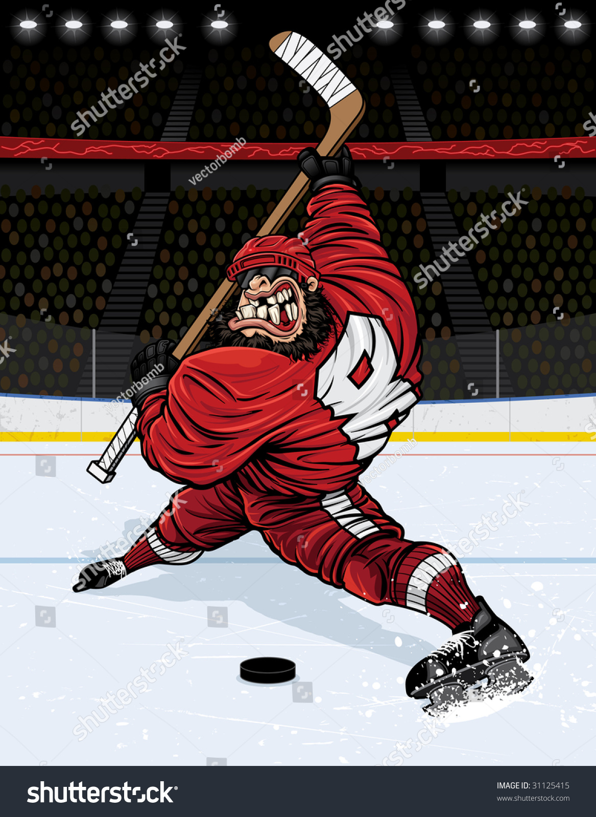 vector illustration muscular hockey player about stock vector
