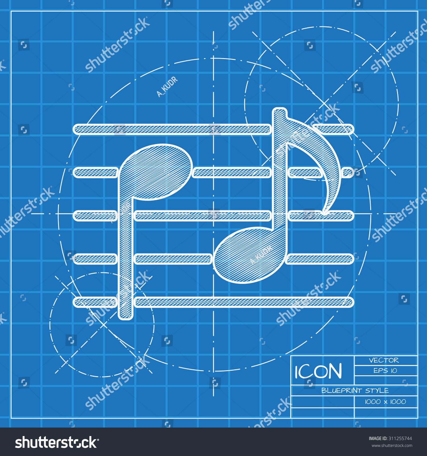 Vector blueprint music icon engineer architect stock vector vector blueprint music icon engineer and architect background malvernweather Gallery