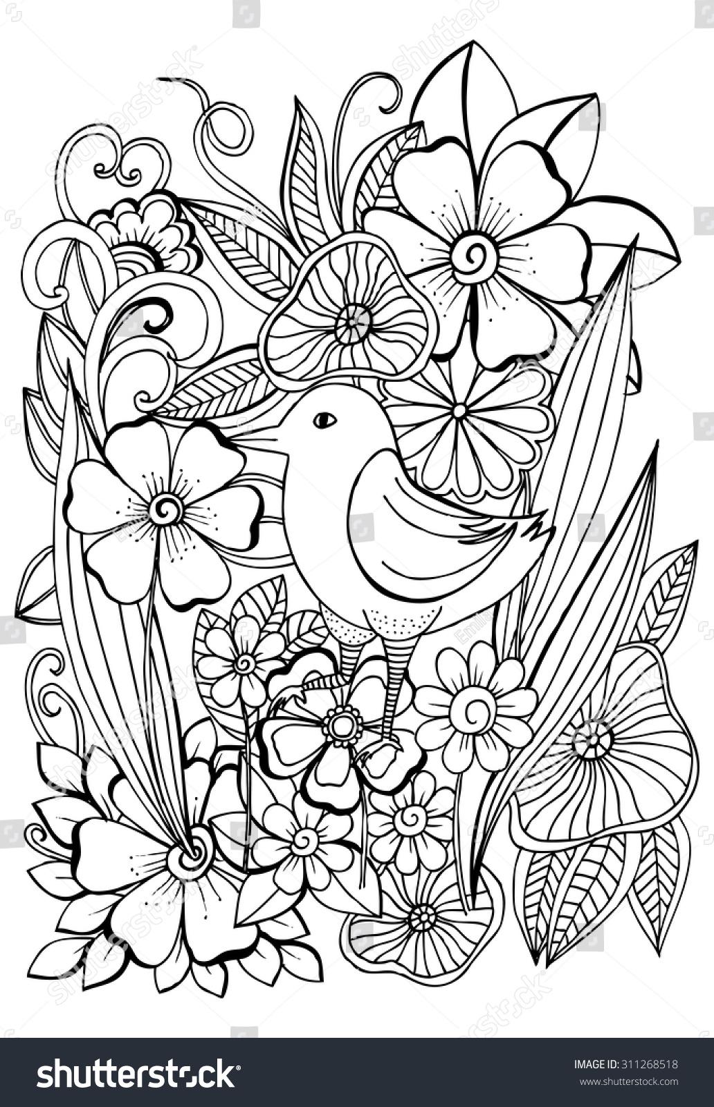 Botanical art coloring book - Beautiful Tropical Bird In Magical Garden For Coloring Book