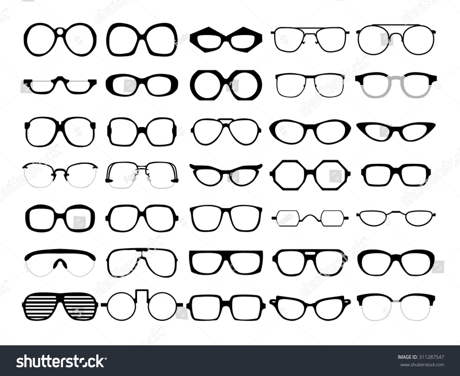 ... hipster frames. Man and women eyeglasses and sunglasses silhouettes
