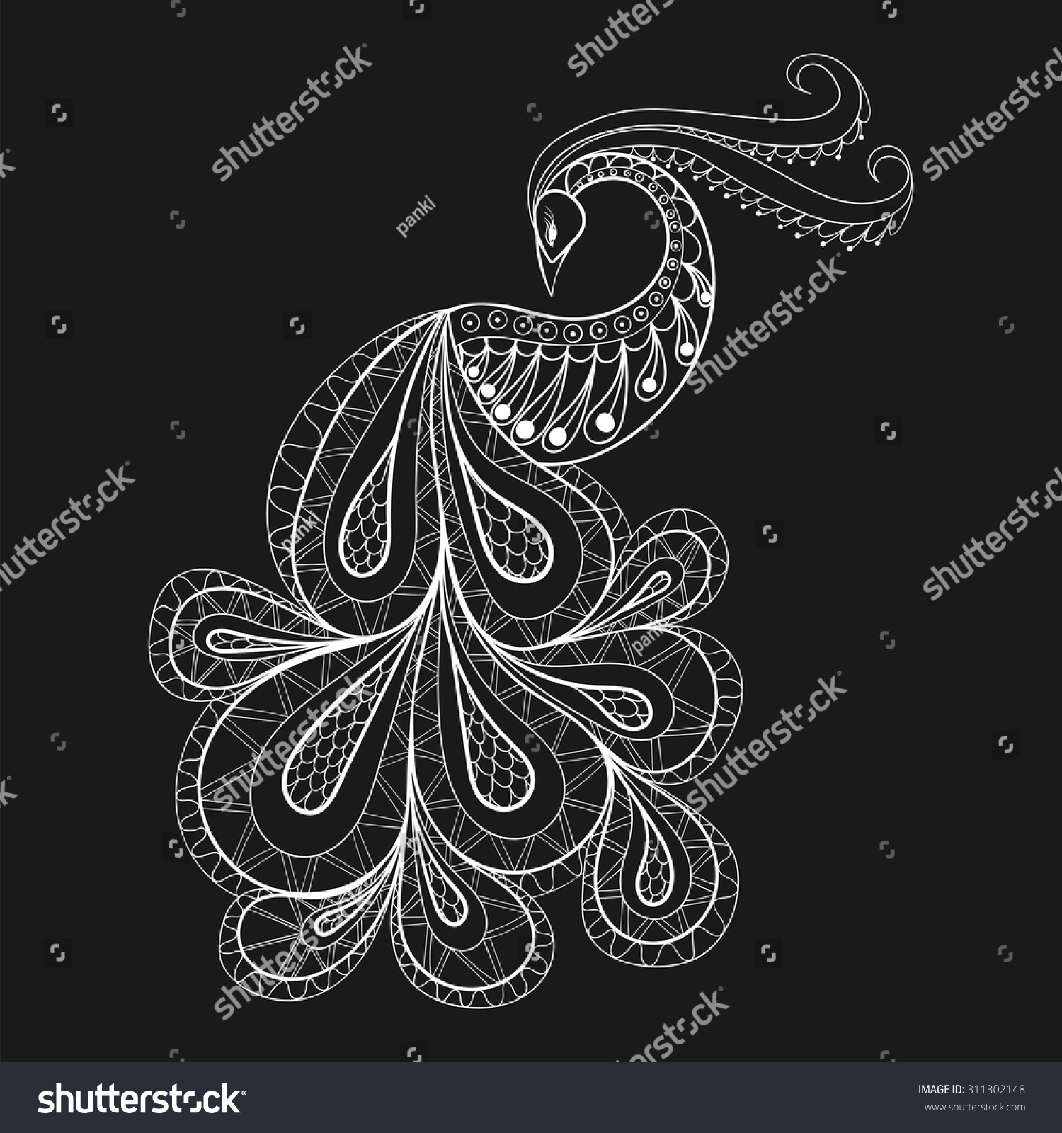 hand drawn peacock antis tress stock vector 311302148