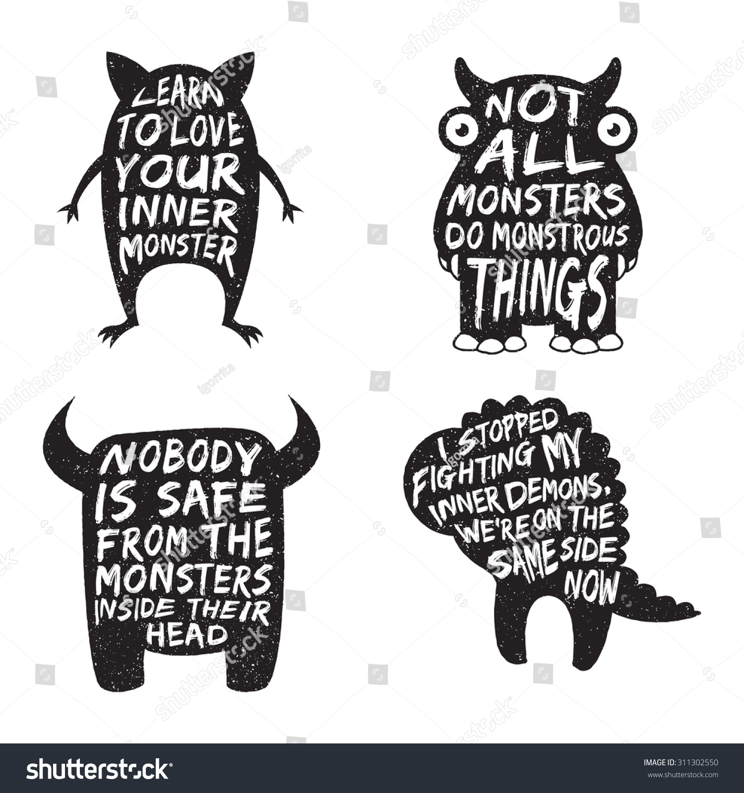 set monster typography posters quotes artworks stock vector 311302550 shutterstock