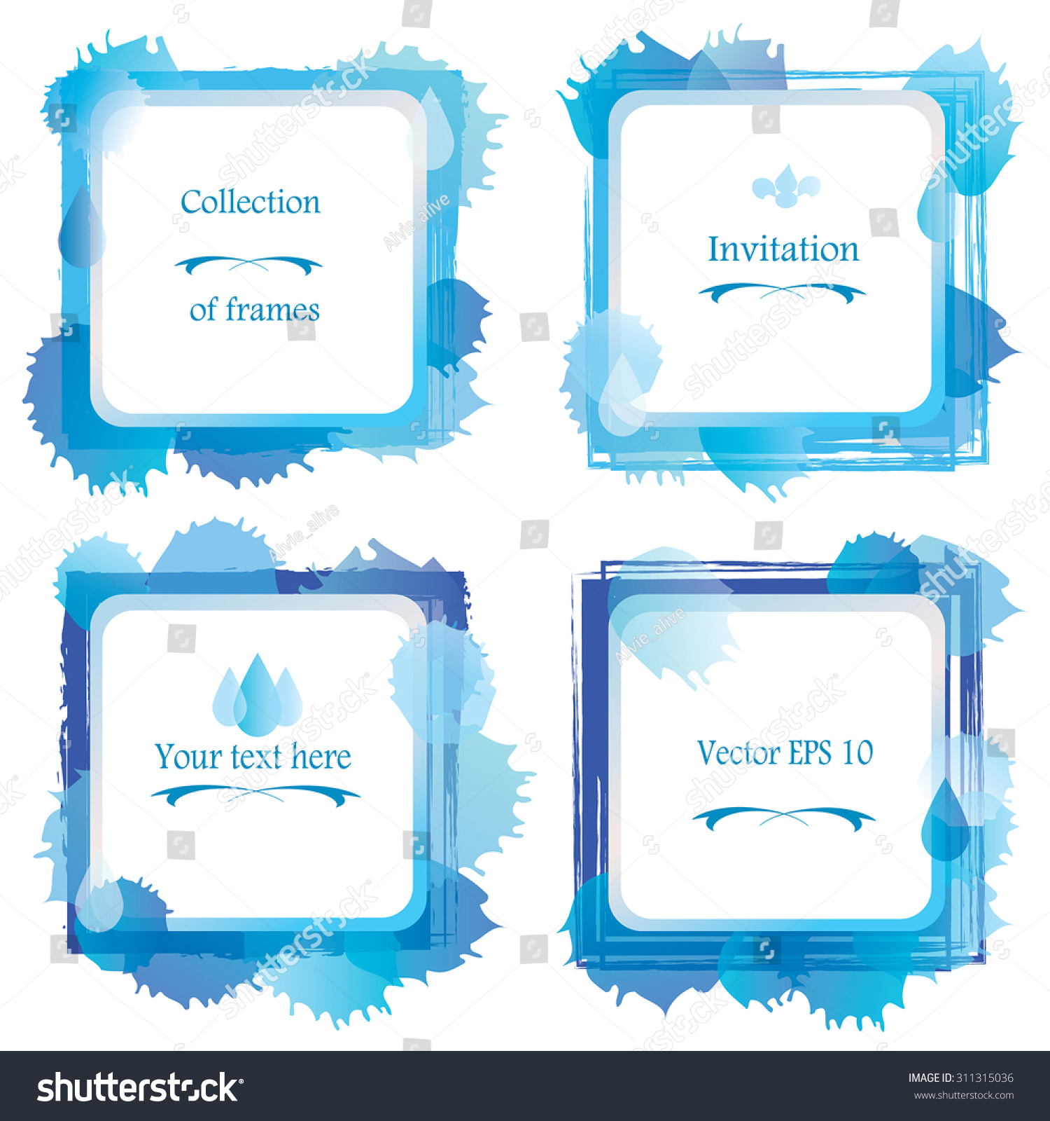 Set 4 Square Abstract Water Frame Stock Vector (Royalty Free ...