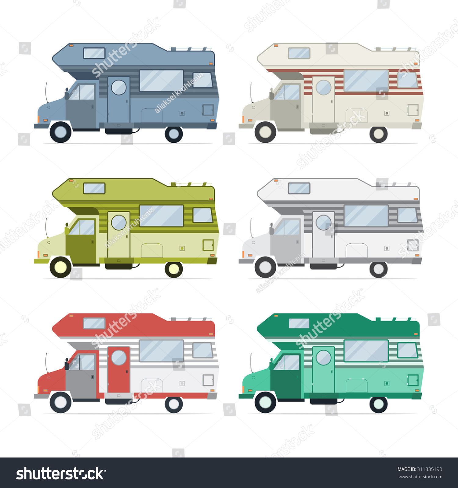Vectors Illustrations Footage Music Camping Trailer Family Caravan Collection Set Of Recolored Traveler Truck Camper Flat Style Icons Isolated
