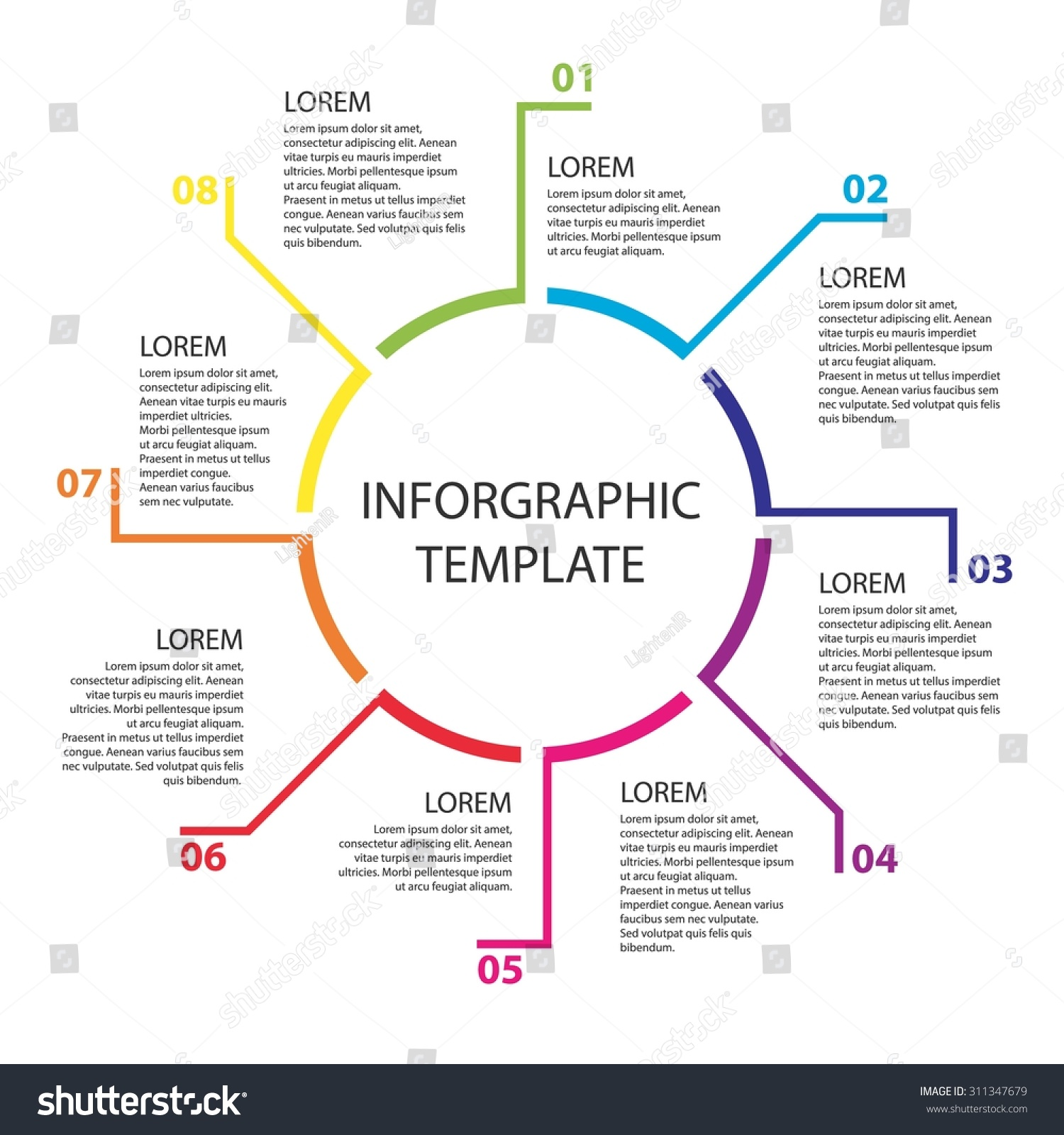 infographic template report templates 8 steps stock vector royalty