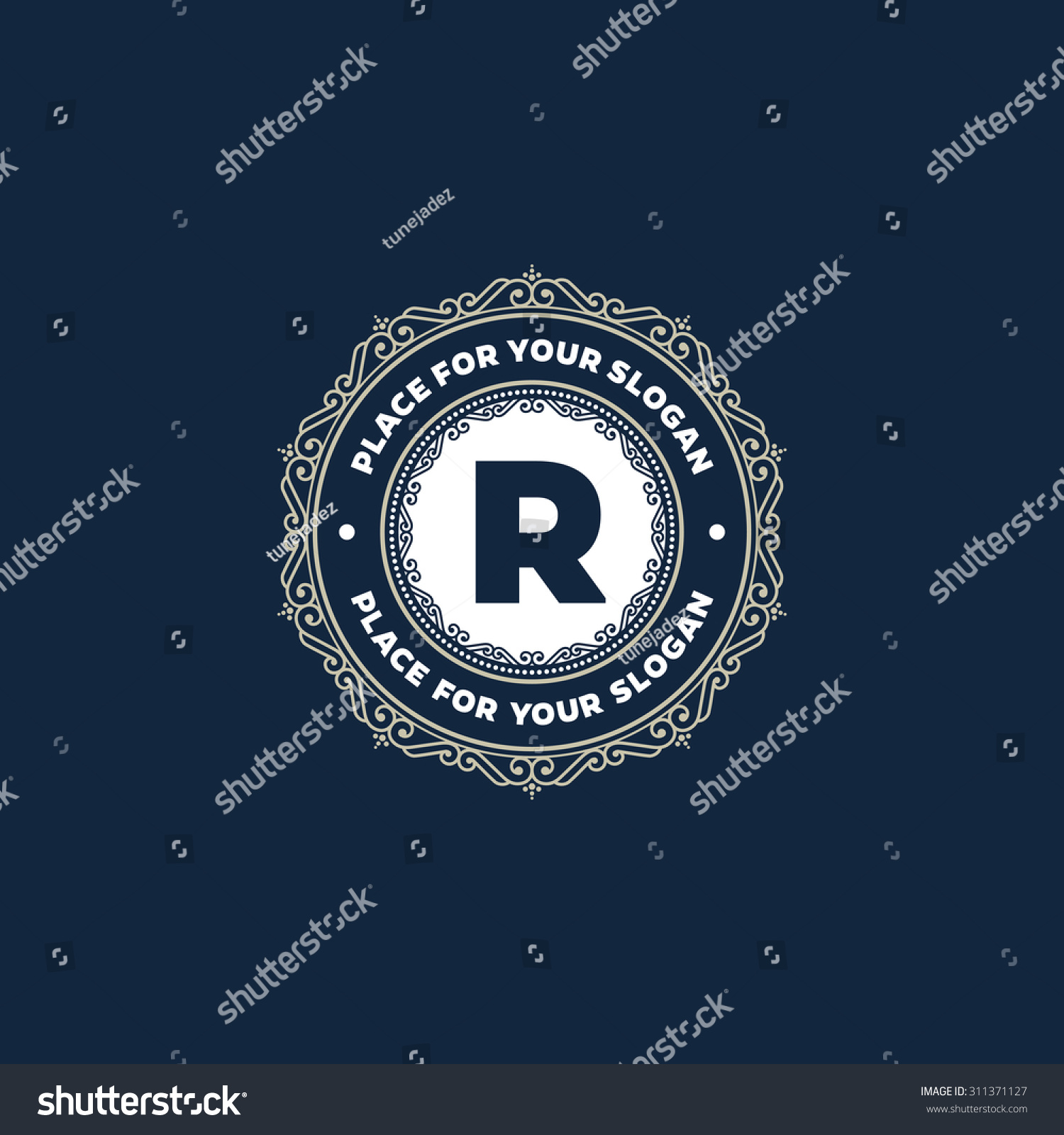 Simple Monogram Design Template Letter R Stock Vector