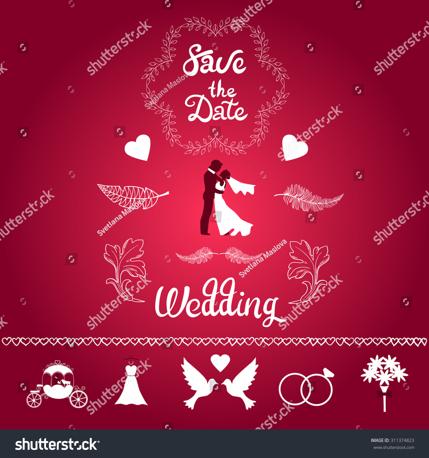 Wedding Set Bride Groom Doves Wedding Stock Vector (Royalty Free ...