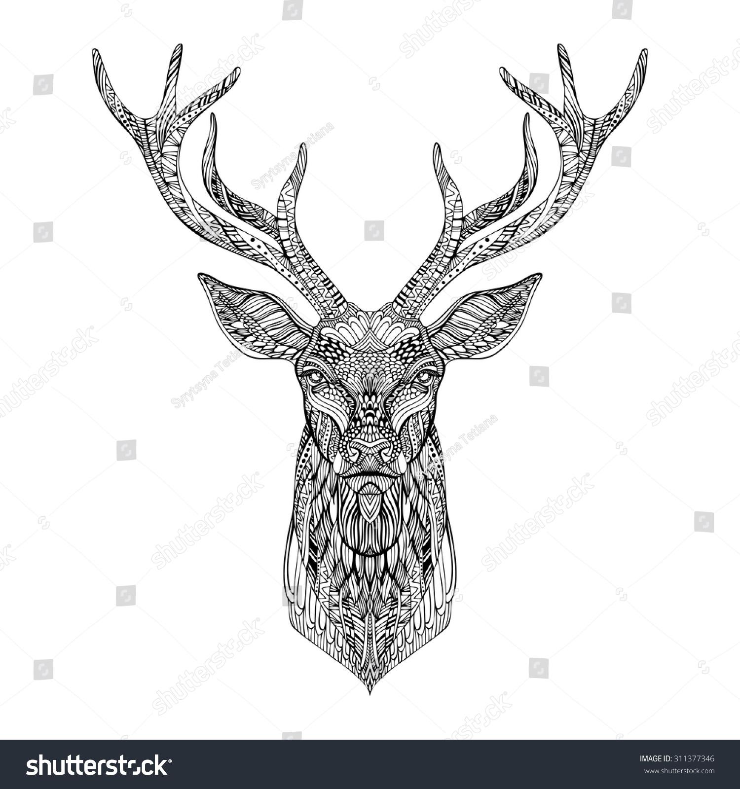 deer head stylized zentangle style tribal stock vector 311377346 shutterstock. Black Bedroom Furniture Sets. Home Design Ideas