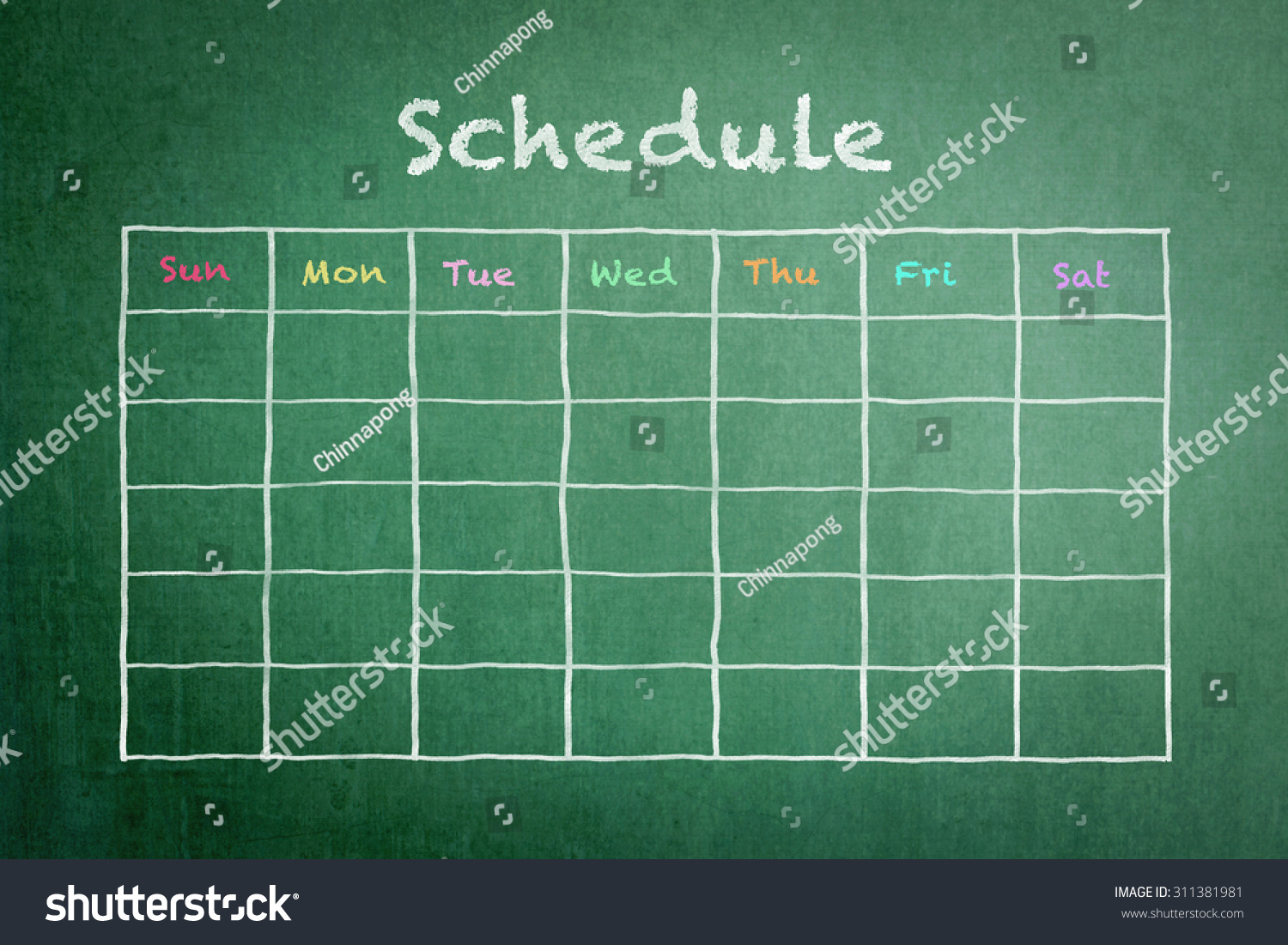 hand white chalk doodle sketch blank stock photo  hand white chalk doodle sketch of blank monthly grid timetable schedule on green chalkboard background