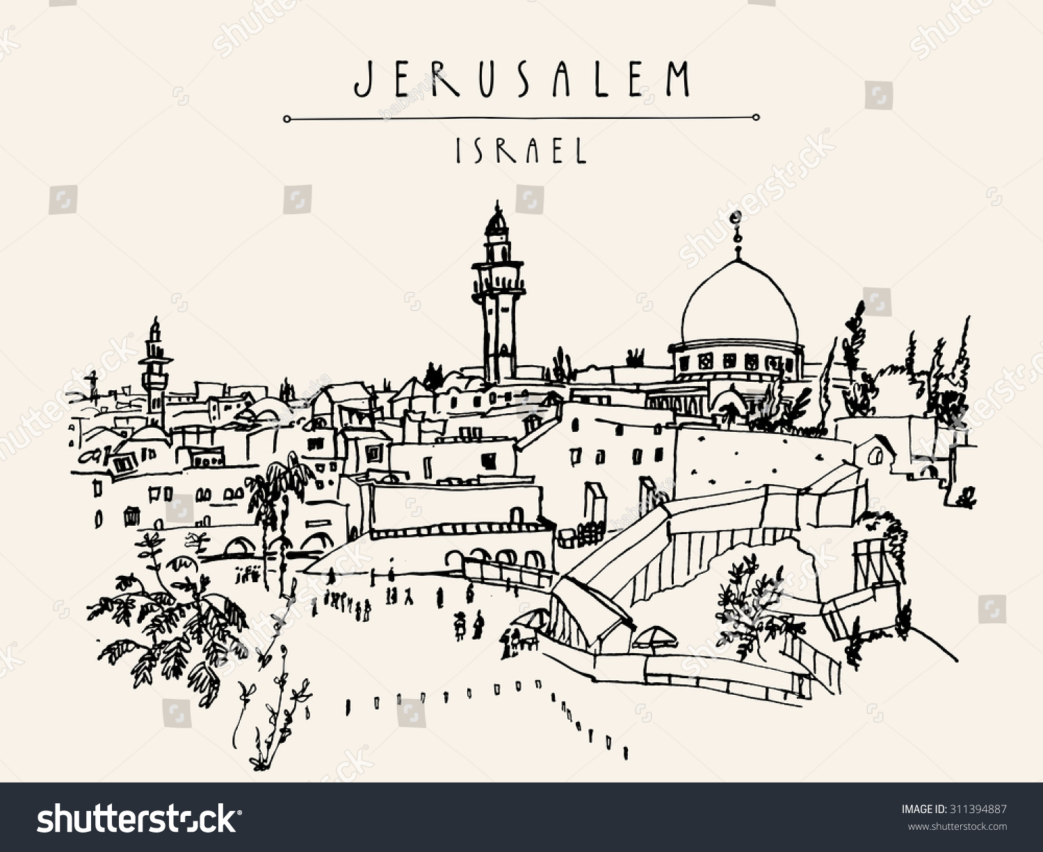 Jerusalem Israel Old City Skyline Wailing Wall Handmade Drawing Isolated In Vector
