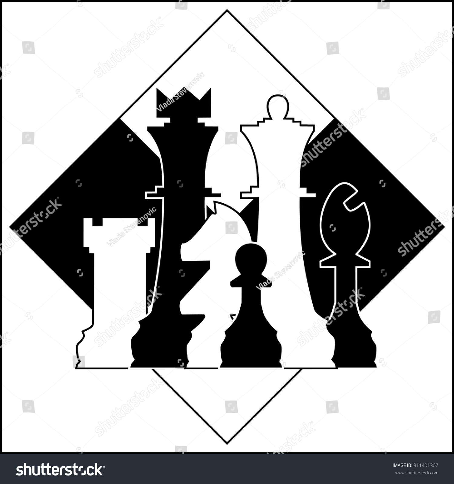 Chess pieces on chessboard symbol vector stock vector 311401307 chess pieces on a chessboard as a symbol vector biocorpaavc Gallery