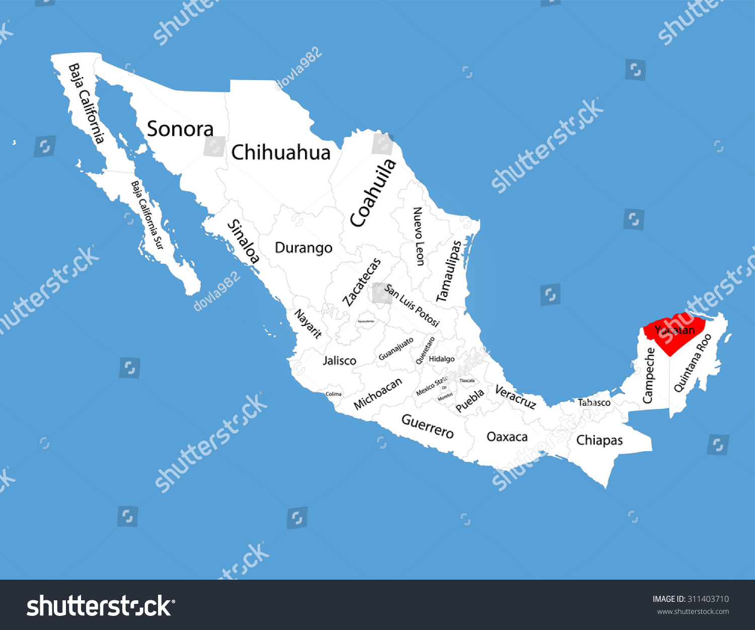Yucatan Peninsula Mexico Vector Map Silhouette Stock Vector