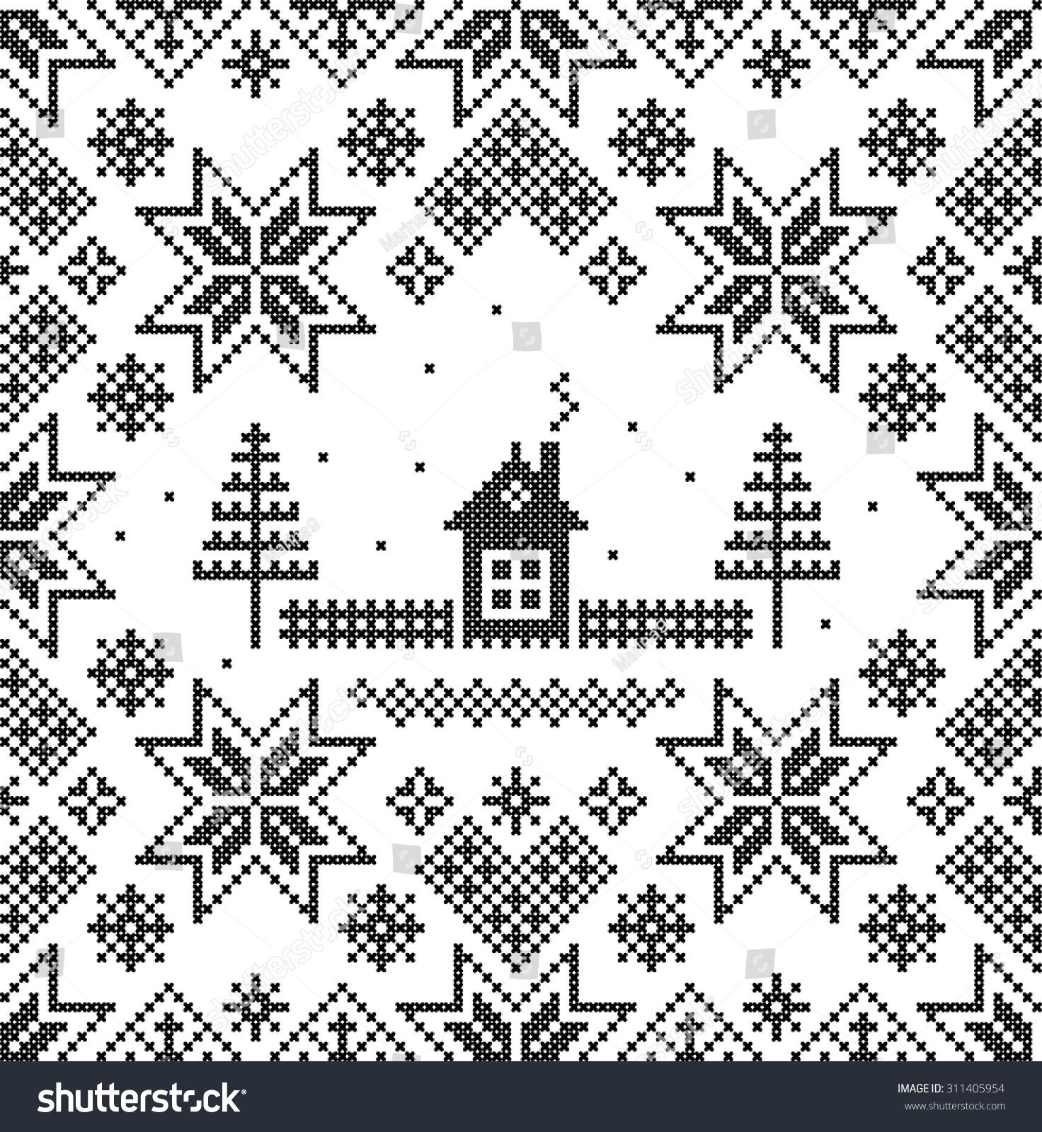 Winter Vector Seamless Pattern Nordic Background Vector de stock ...