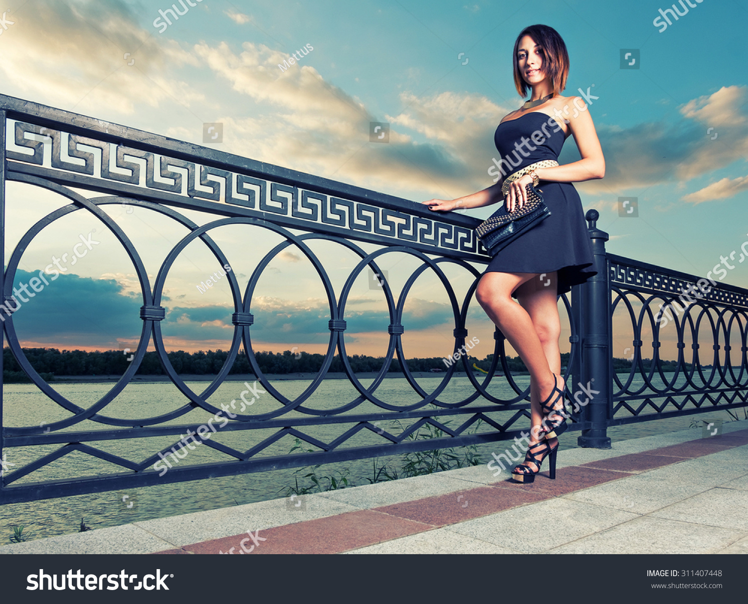 Fashionable women is posing outdoors with trendy clutch covered with rivets in hands. Full Length Portrait of Beautiful Young Woman near Ornate Metal Fence. Dramatic sky. Toned image Place for text