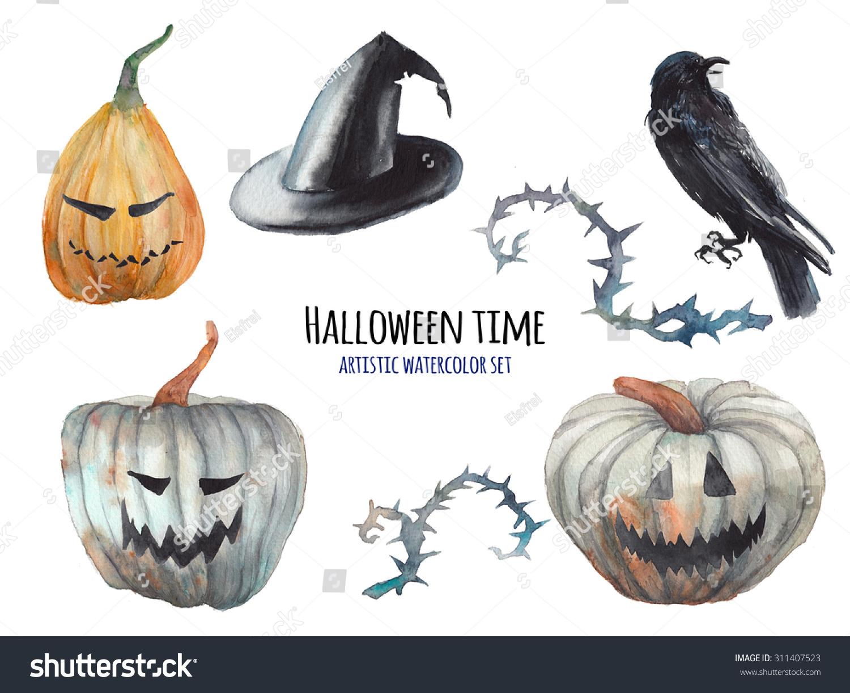 Watercolor halloween set hand drawn holiday stock