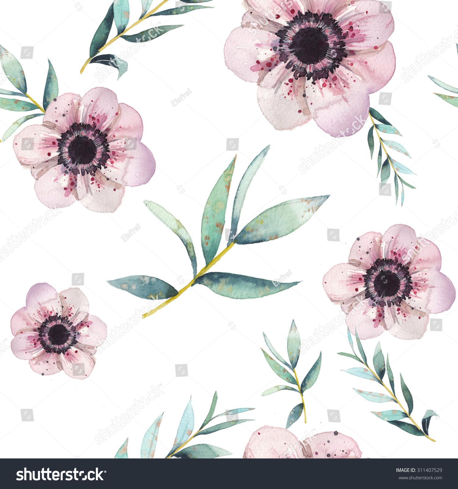 Watercolor Leaves Flowers Seamless Pattern Vintage Stock