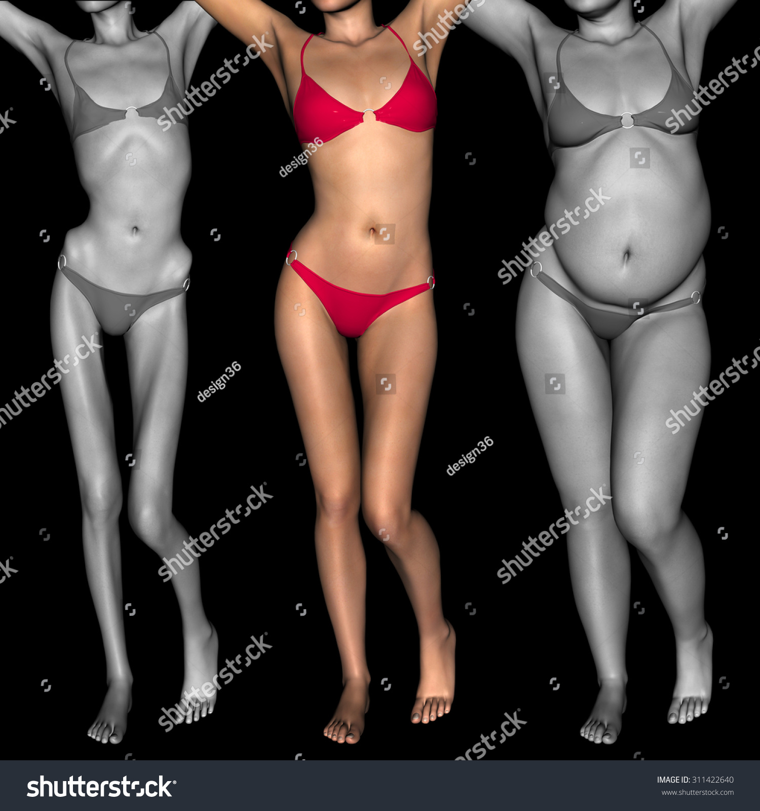 Concept Conceptual 3d Woman Girl Fat Stock Illustration ...  Obese Vs Anorexic