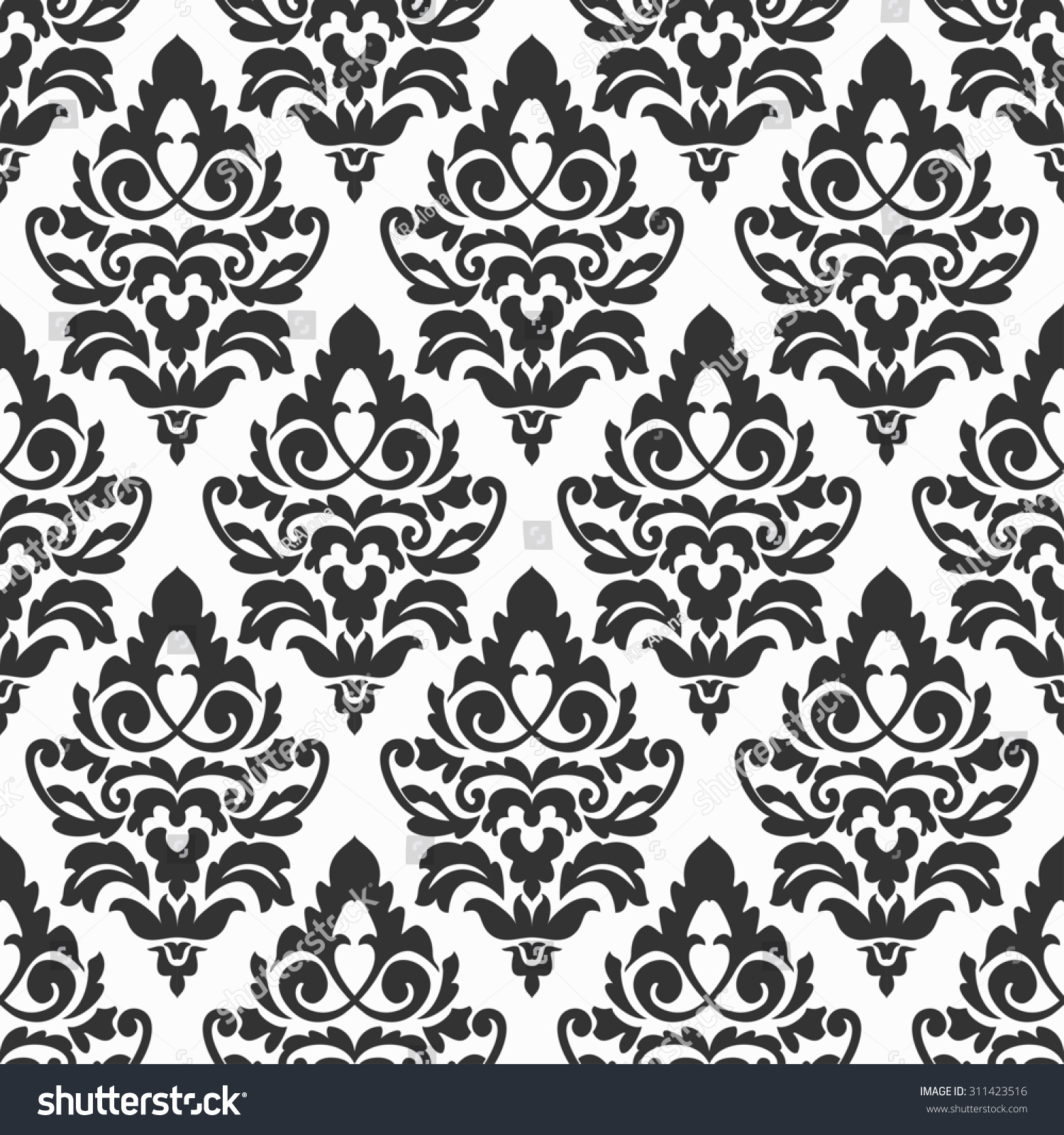 Elegant Black White Damask Wallpaper Vintage Stockillustration
