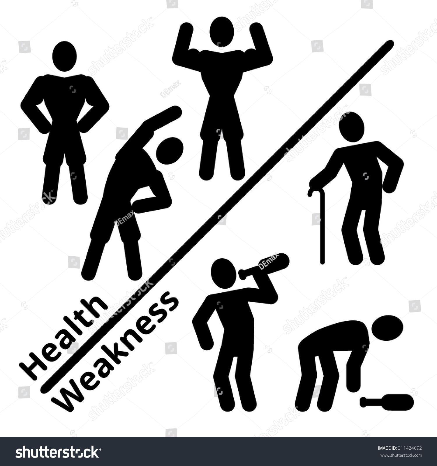 comparison healthy weakness man black silhouette stock vector comparison healthy and weakness man black silhouette symbol pictogram flat vector icons