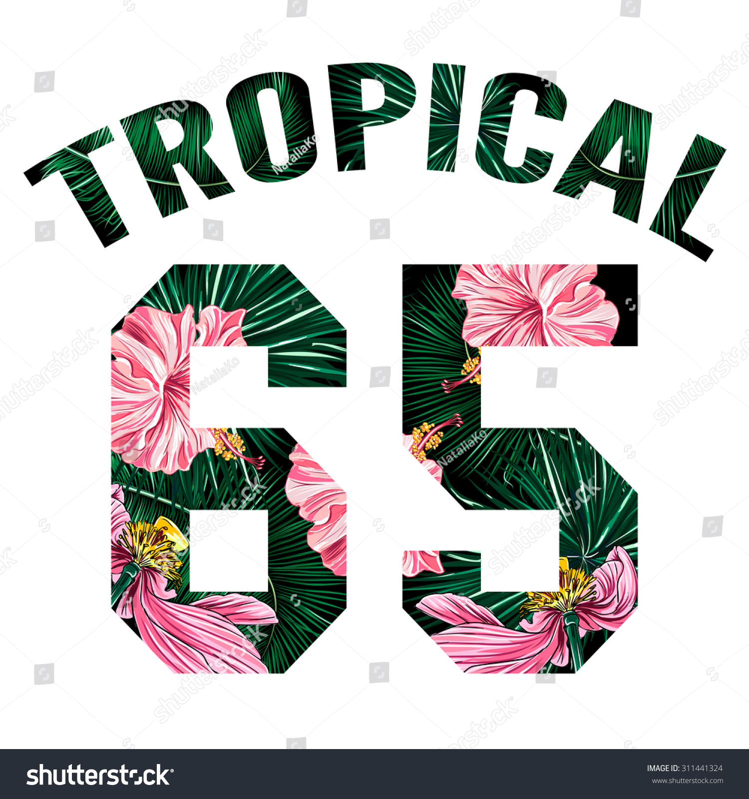 Design t shirt girl - Vector Fashion Design Tropic Print For Girl Summer T Shirt Tropical Flowers Palm Leaves