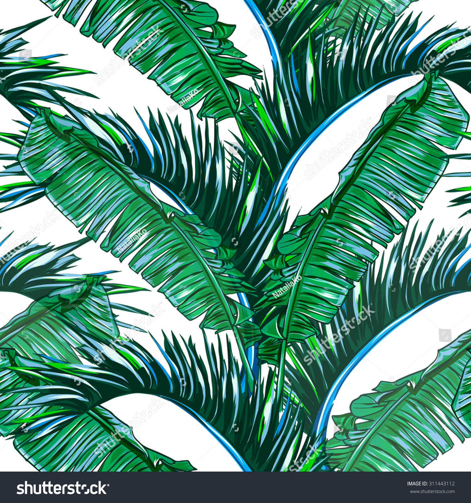 Tropical palm leaves, tree seamless vector jungle floral pattern ...