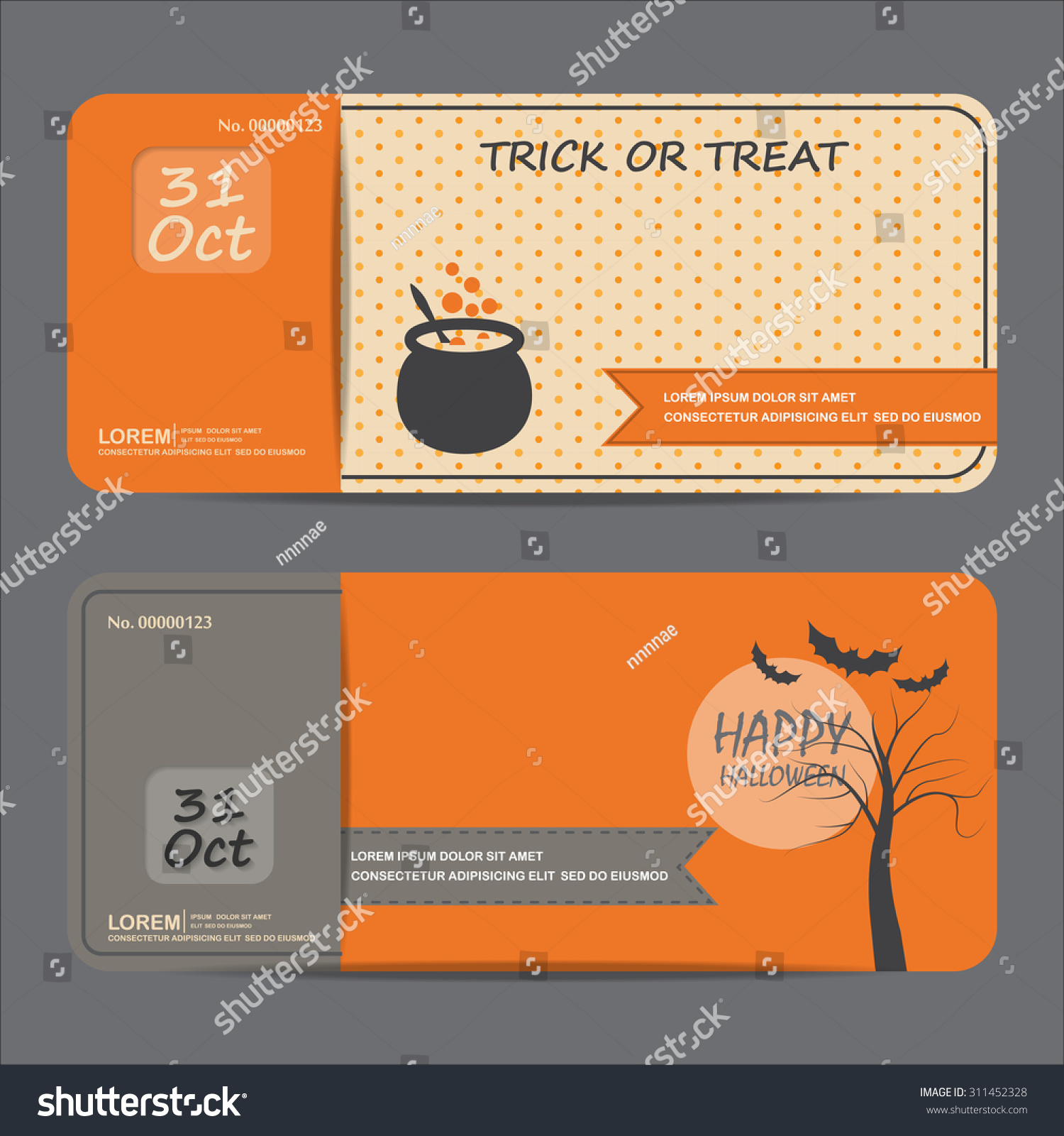Halloween Gift Voucher Certificate Coupon Invitation Stock Vector ...