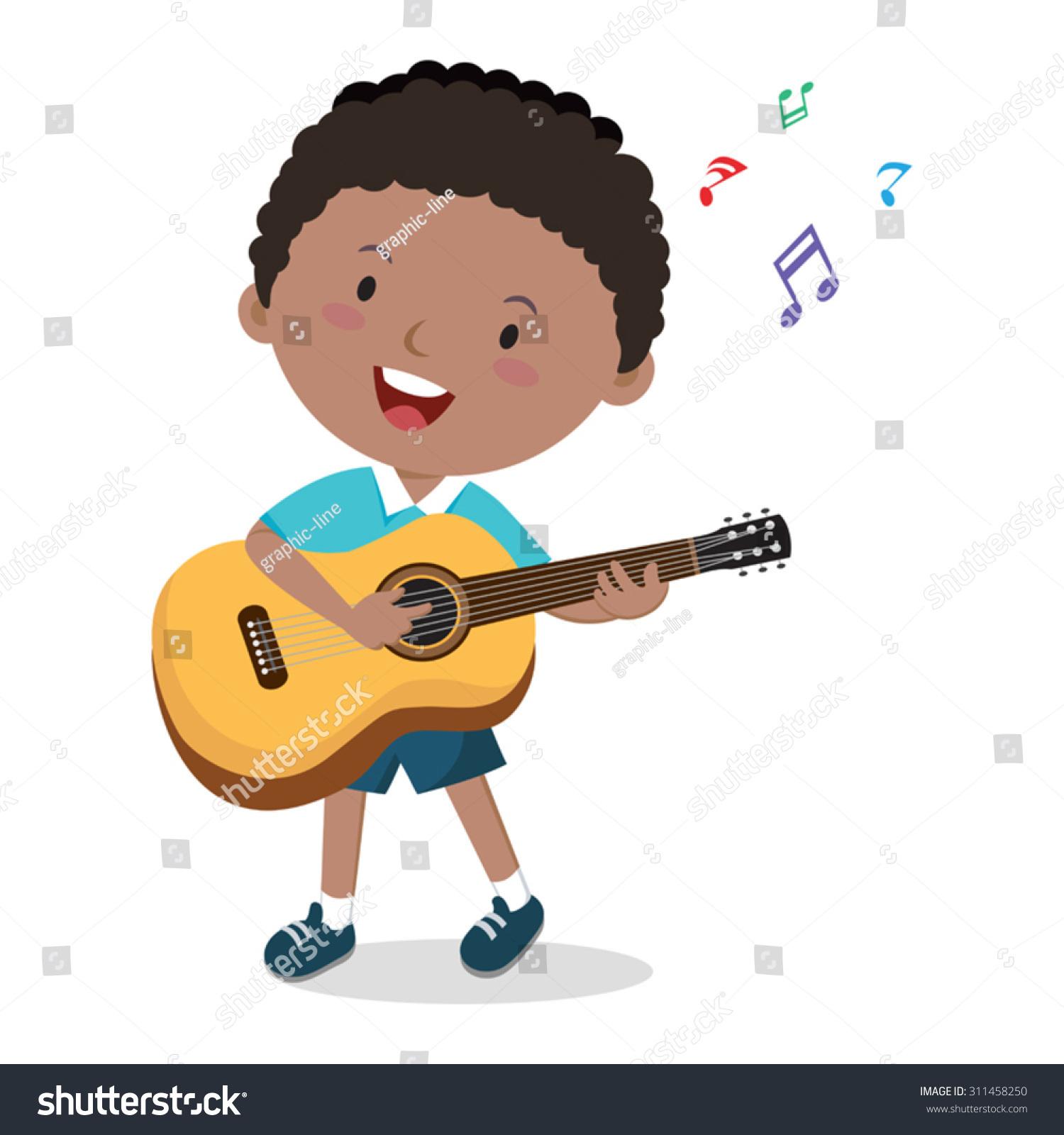 Little Boy Playing Guitar Vector Illustration Stock Vector ...
